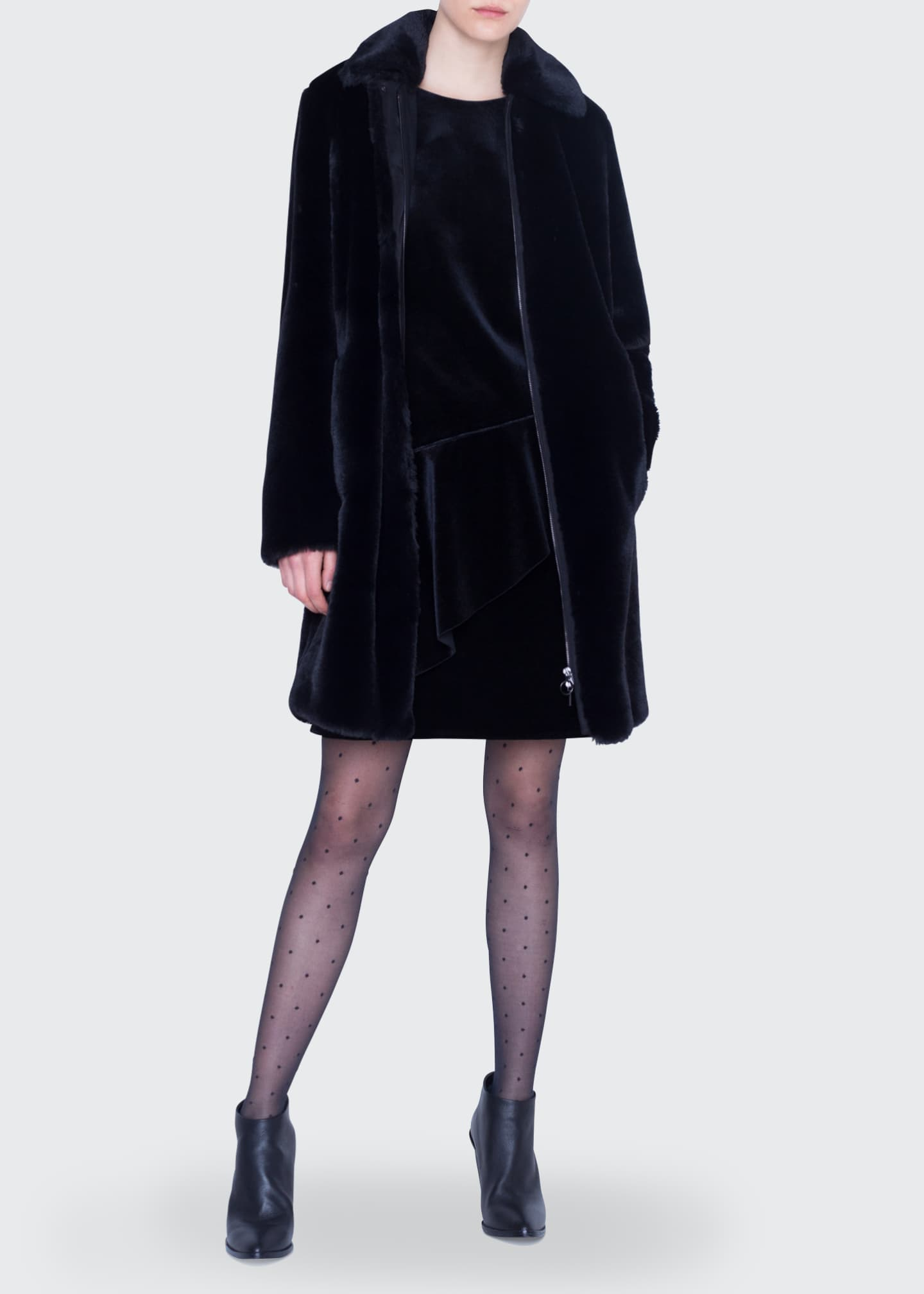 Akris punto Knee Length Faux-Fur Zip-Front Coat