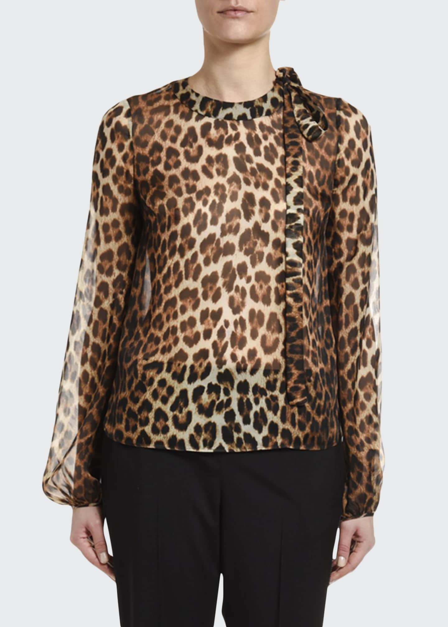 No. 21 Leopard Silk Blouson-Sleeve Neck-Tie Blouse