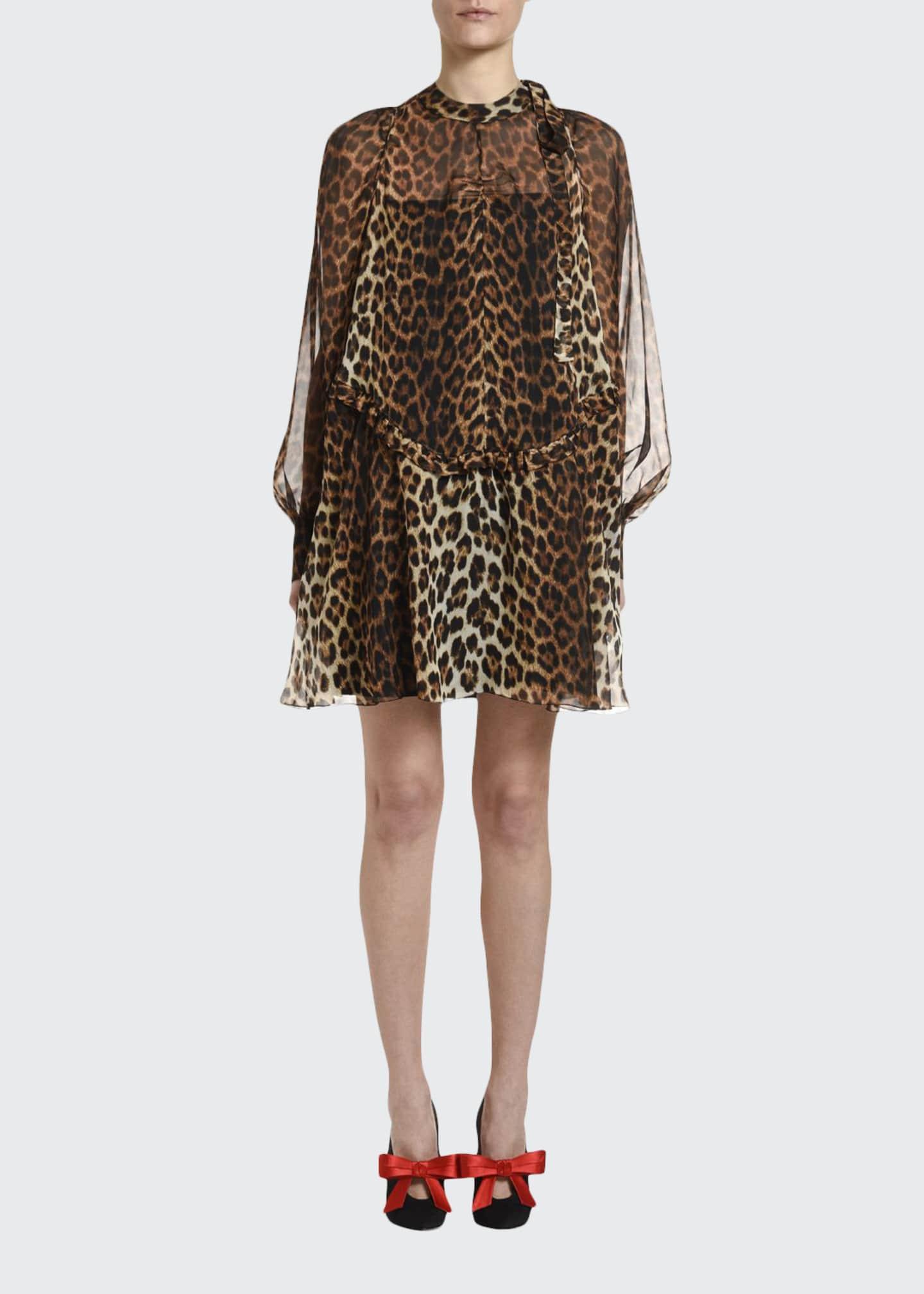 No. 21 Leopard Tie-Neck Blouson-Sleeve Keyhole Mini Silk