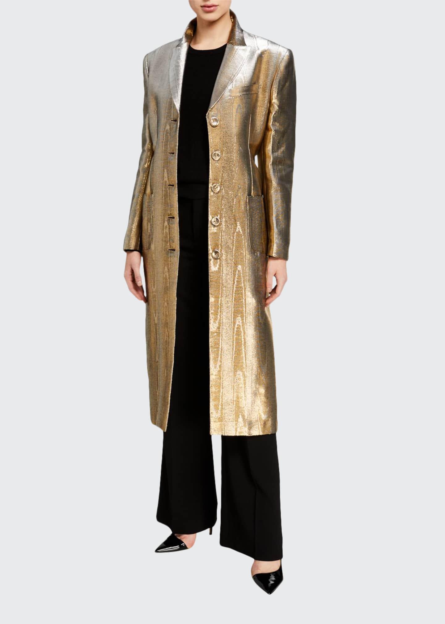 Racil Paloma Metallic Tuxedo-Lapel Coat
