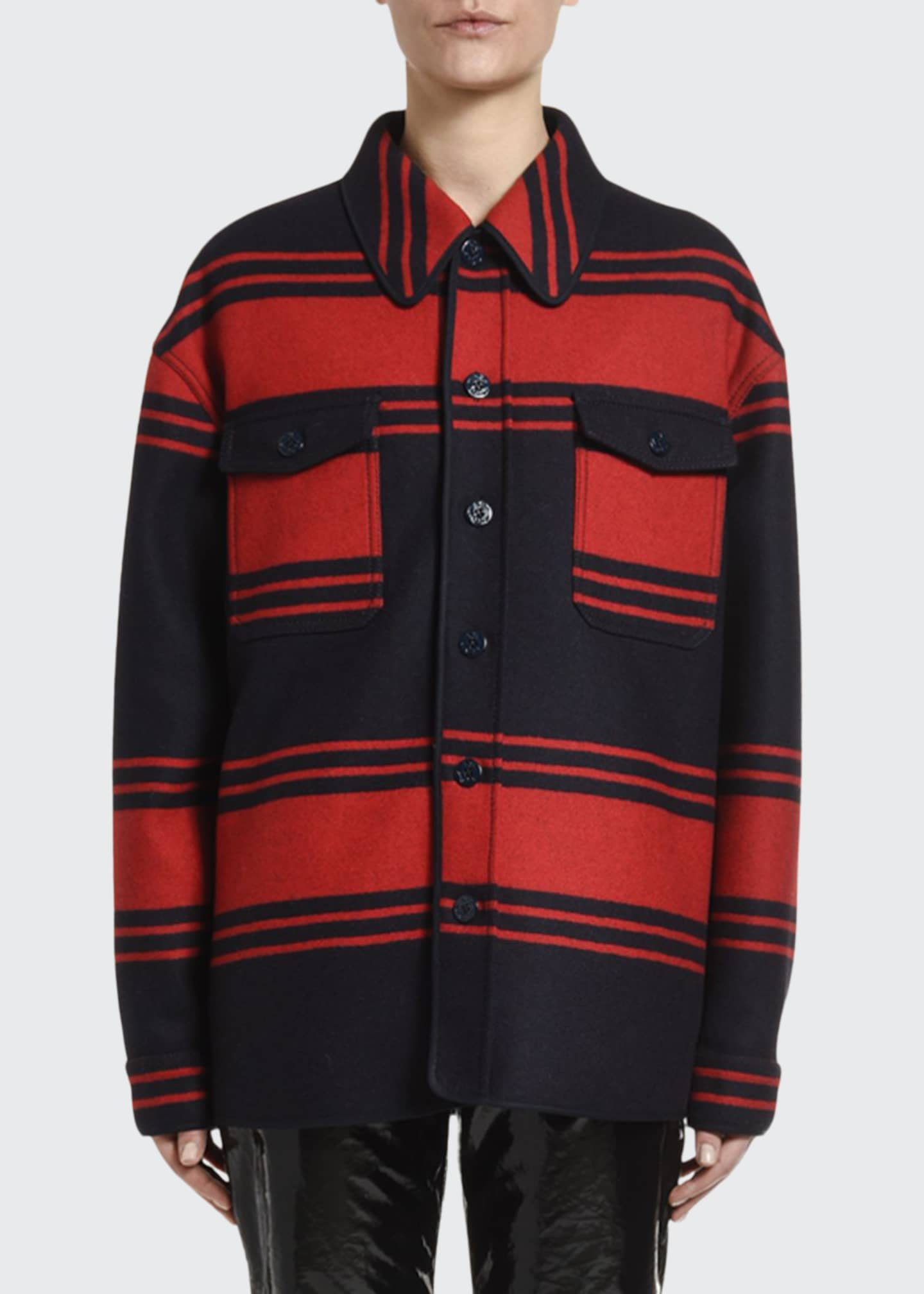 No. 21 Collared Wool Striped Button-Down Shirt