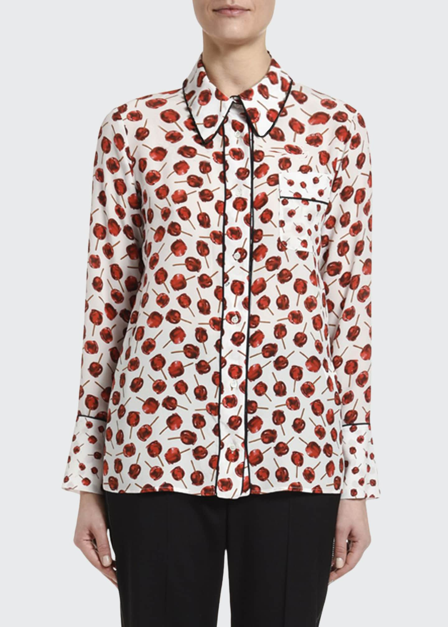 No. 21 Printed Long-Sleeve Blouse with Embellished Collar