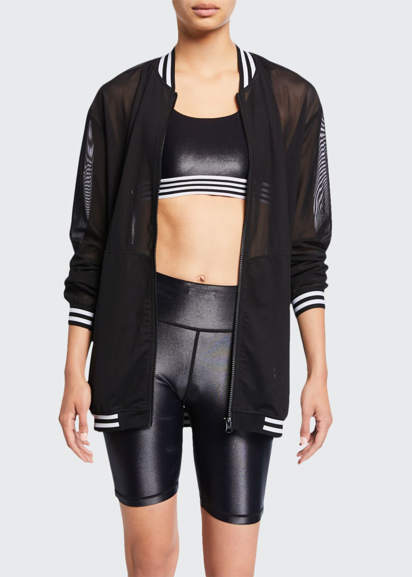 All Fenix Striped Zip-Front Mesh Bomber Jacket