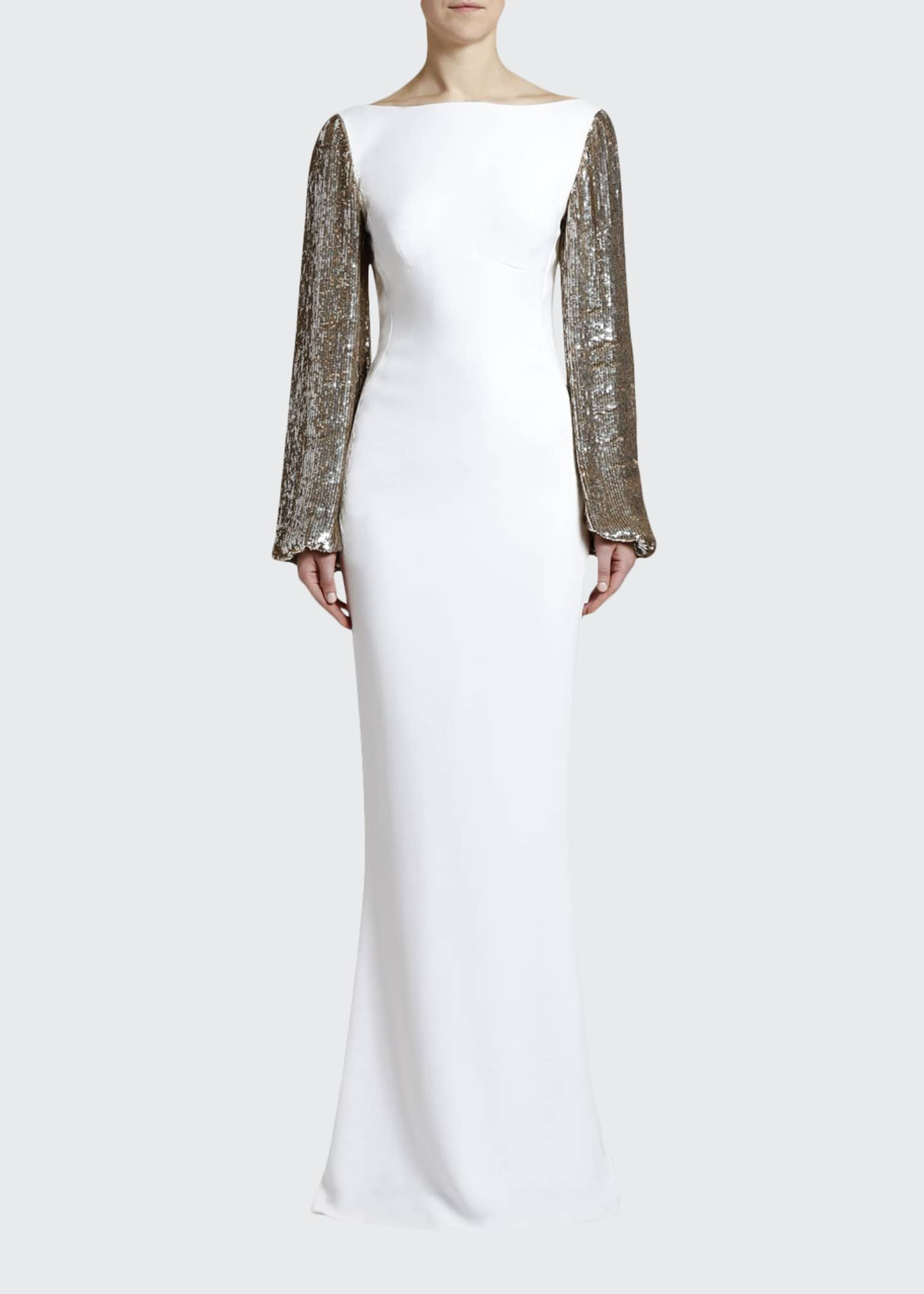 Image 1 of 4: Boat-Neck Golden Sequined-Sleeve Gown