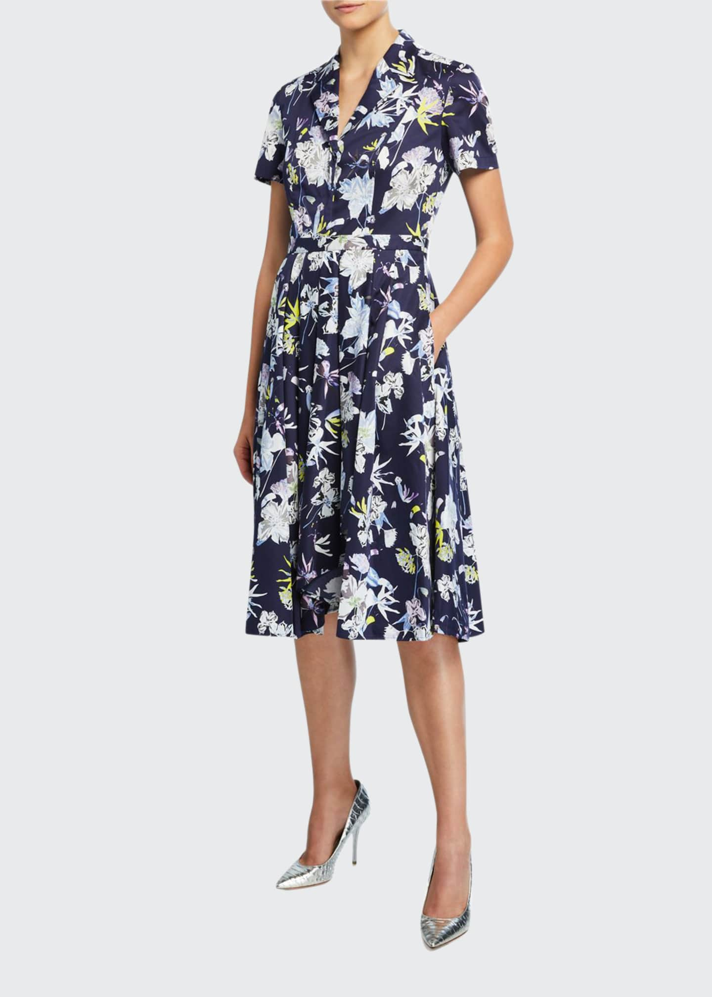 Image 1 of 2: Short-Sleeve Floral-Print Cotton Shirtdress