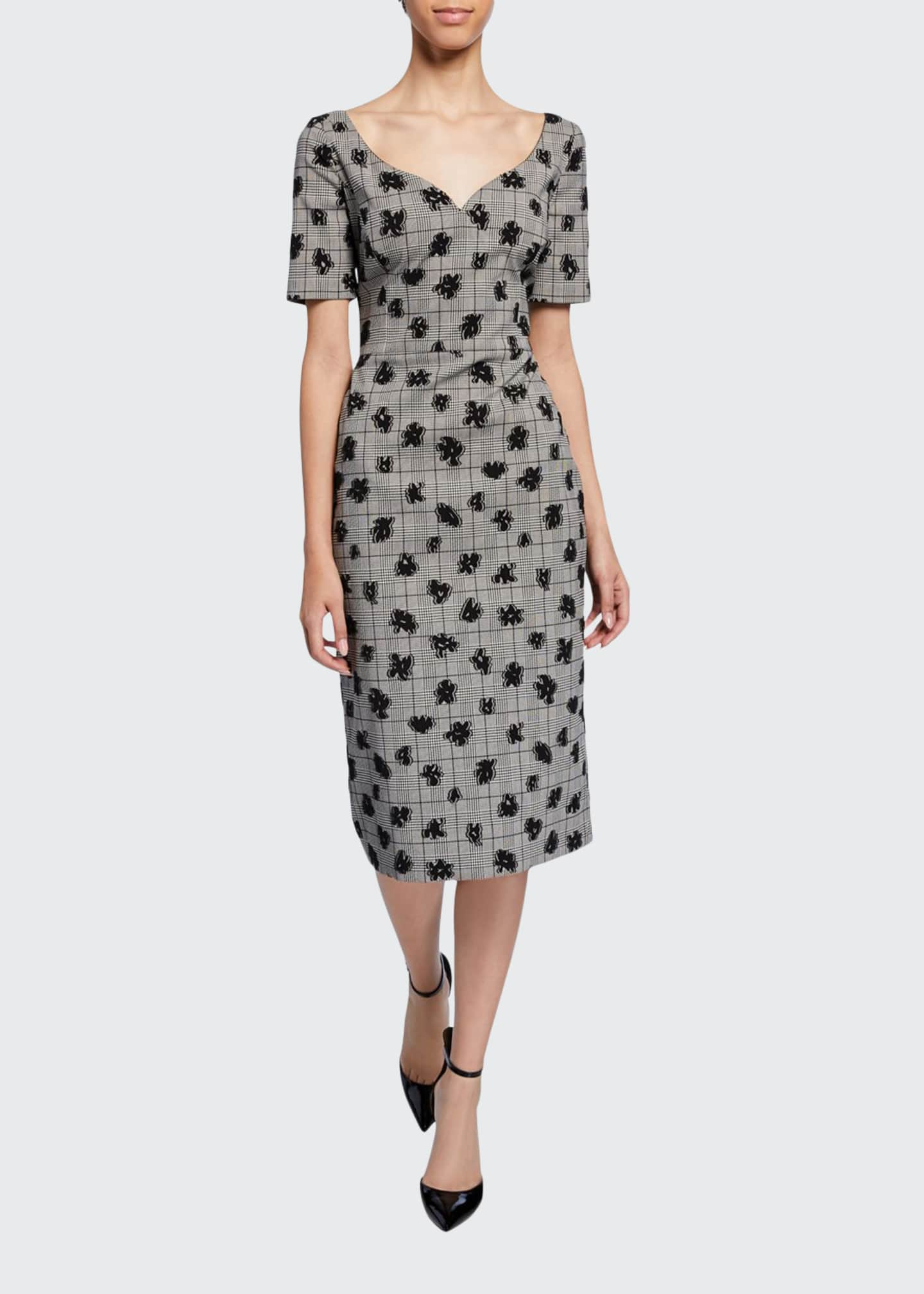 Jason Wu Collection Floral Plaid Sweetheart Midi Sheath
