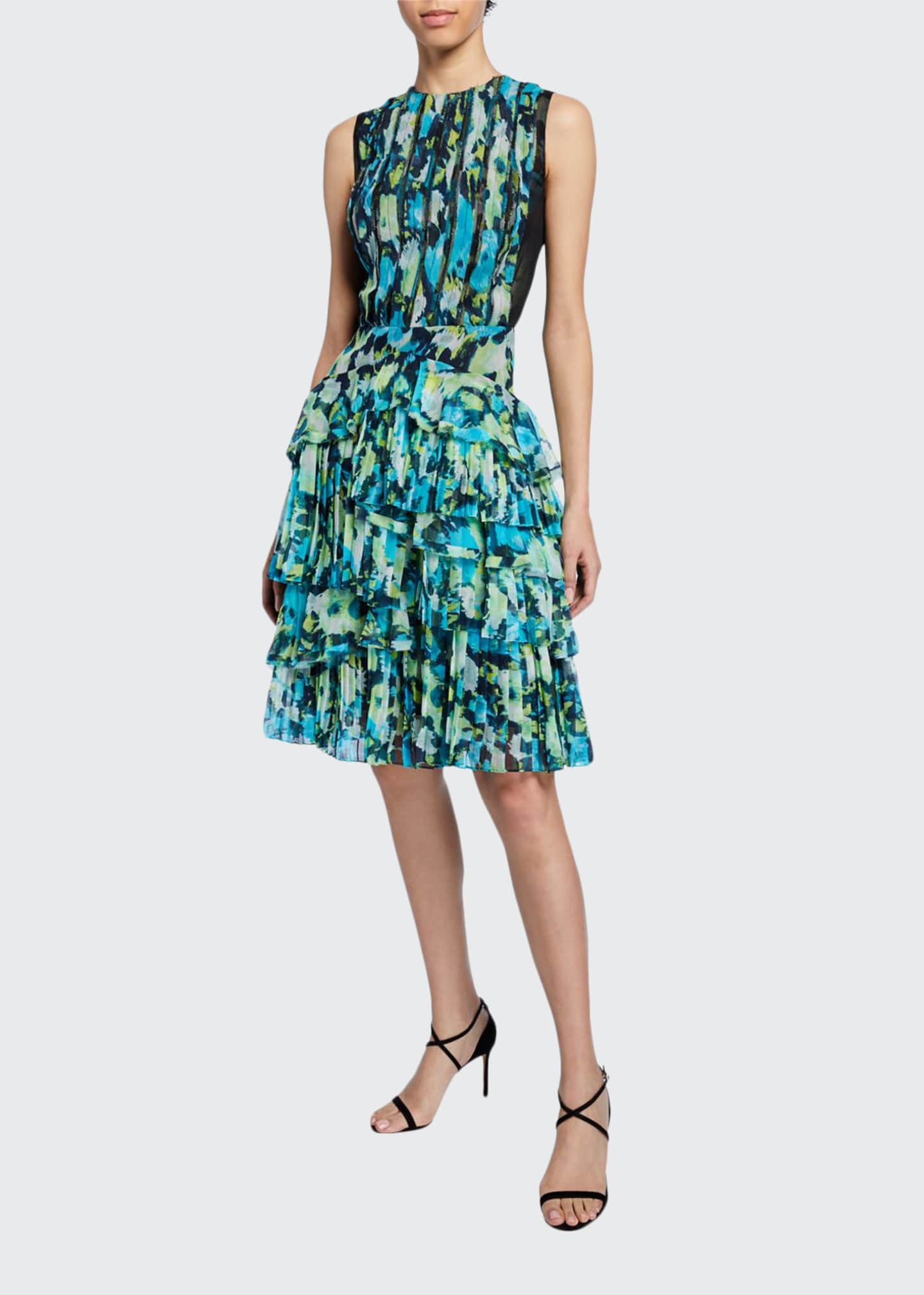 Jason Wu Collection Floral-Print Tiered Ruffle-Chiffon Dress