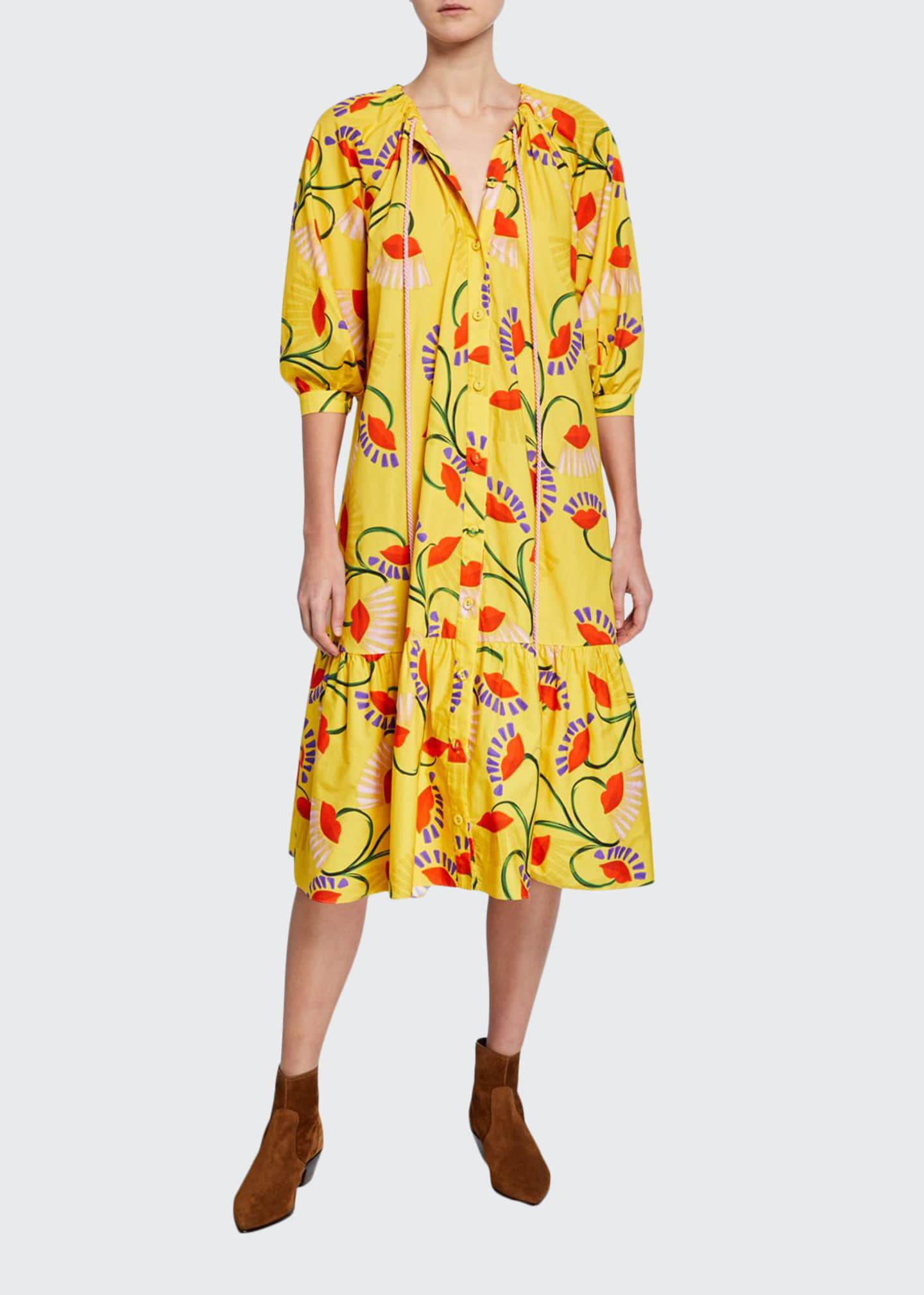 Borgo de Nor Natalia Floral-Print Poplin Tunic Dress