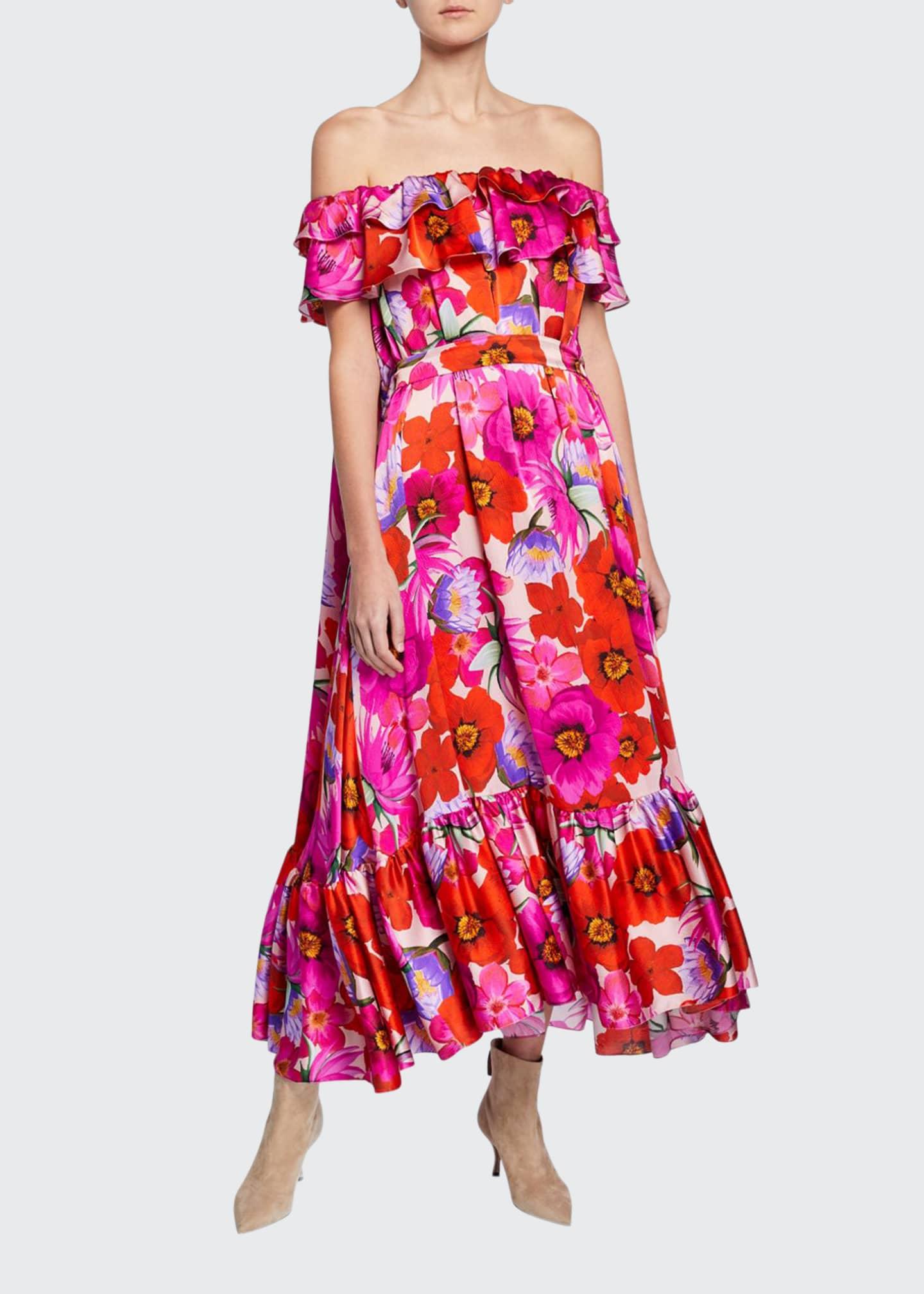 Borgo de Nor Off-the-Shoulder Floral Satin Dress