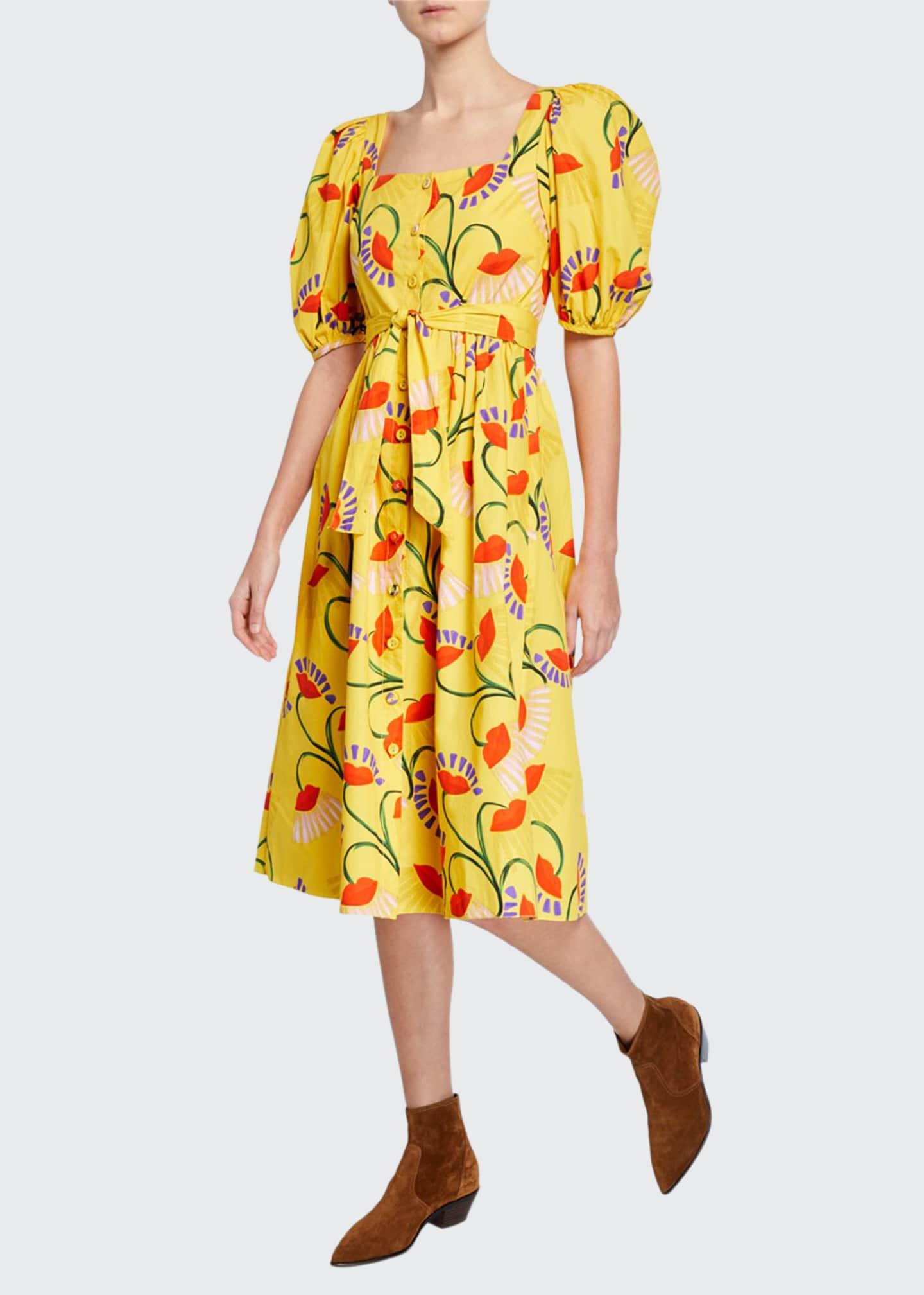 Borgo de Nor Corin Puff-Sleeve Floral-Print Poplin Dress