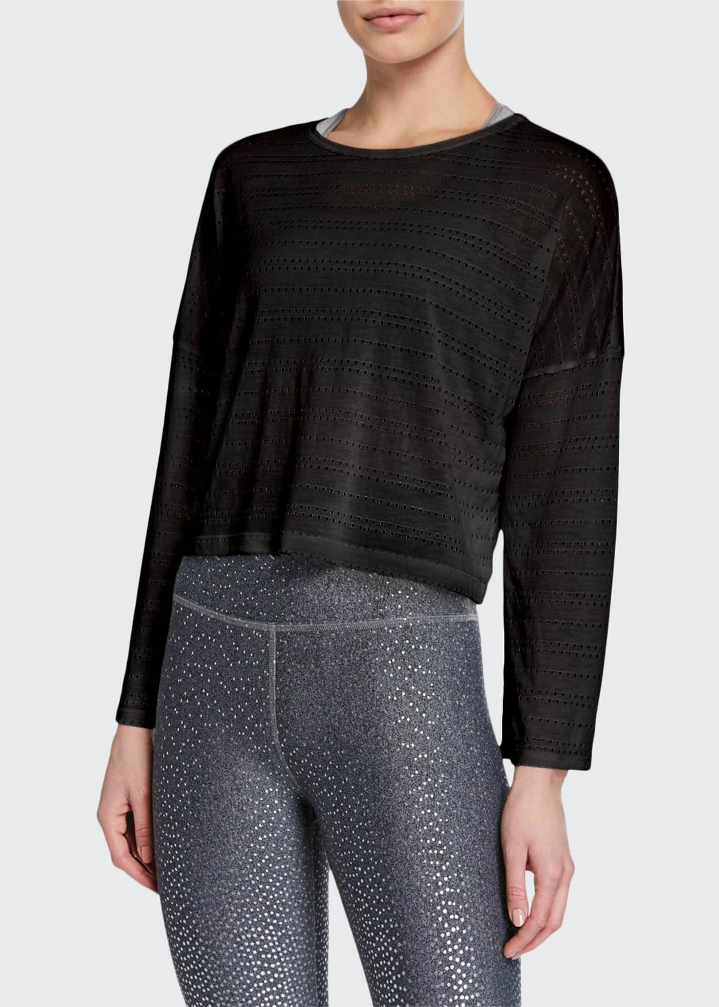 Beyond Yoga Off Cuff Perforated Long-Sleeve Cropped Pullover