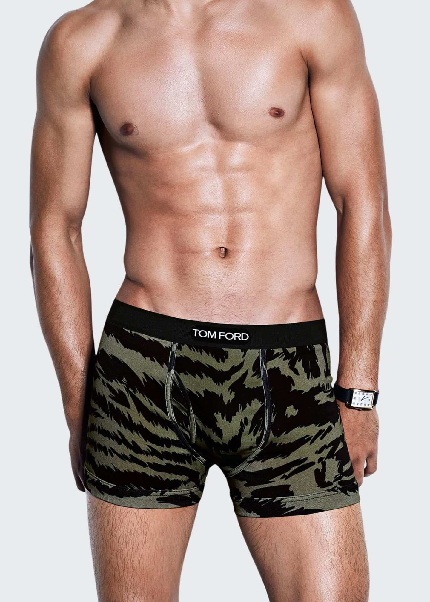 Image 1 of 2: Men's Cotton Zebra-Print Boxer Briefs