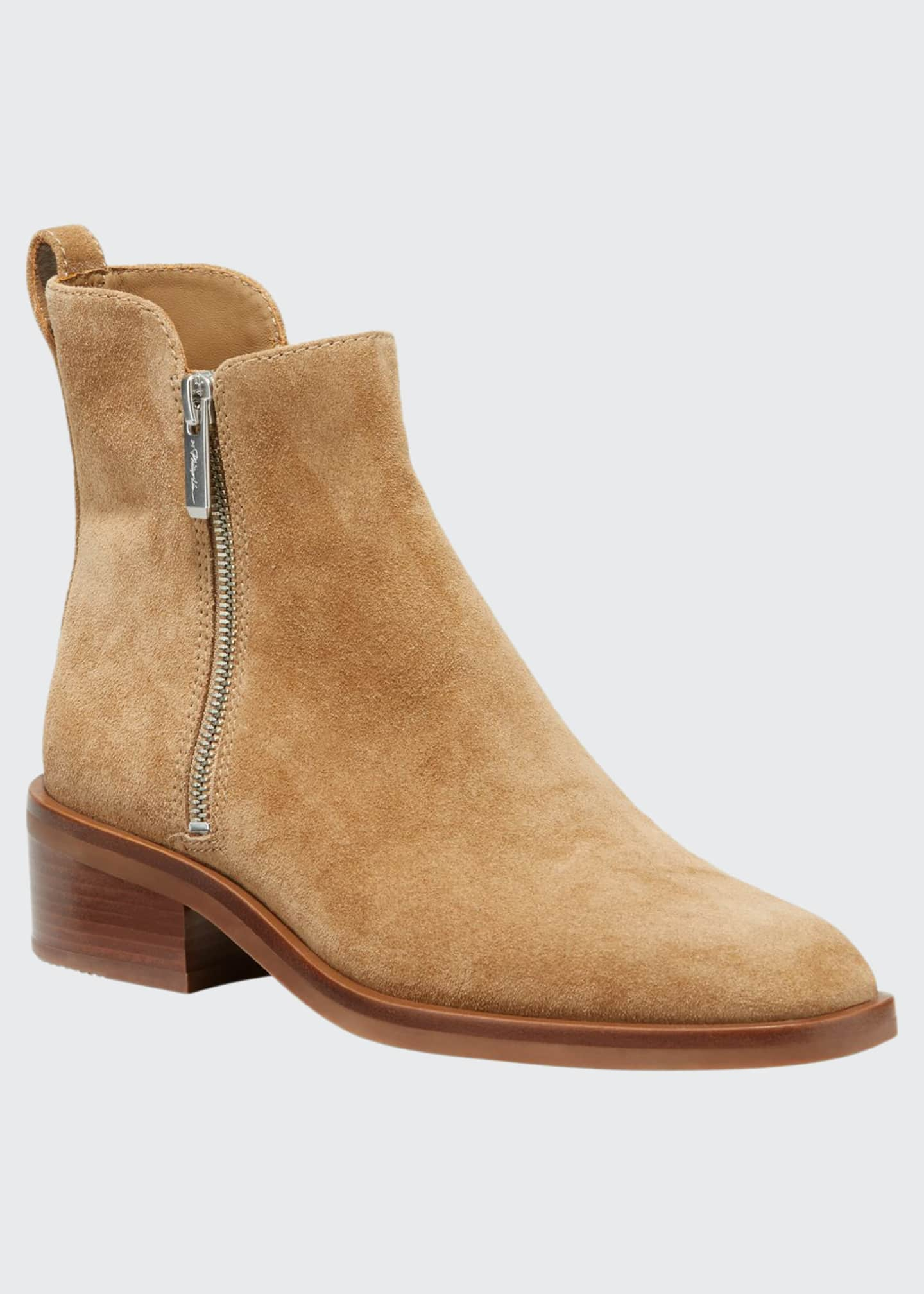 3.1 Phillip Lim Alexa Suede Double-Zip Ankle Booties