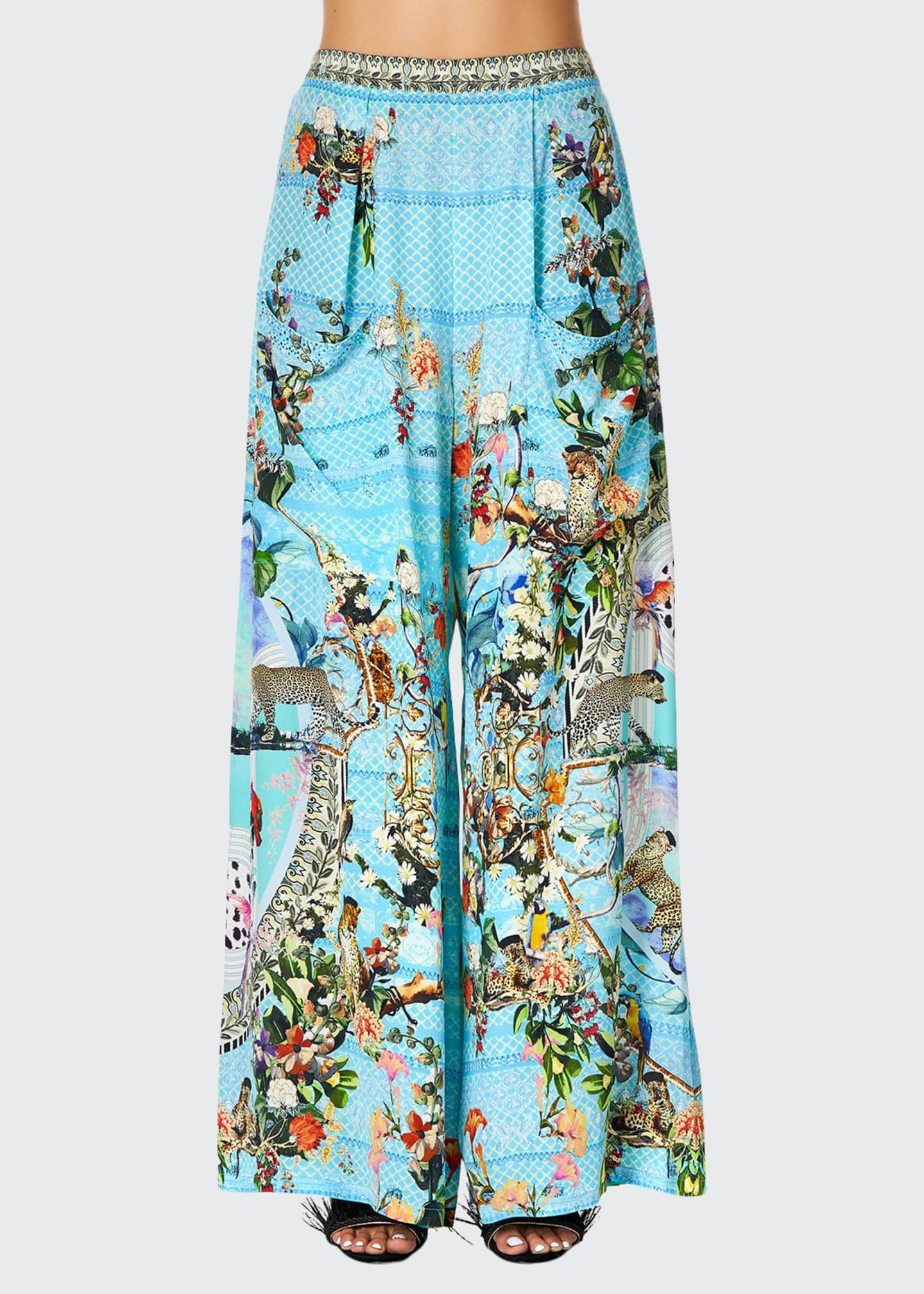 Camilla Printed Wide-Leg Coverup Trousers