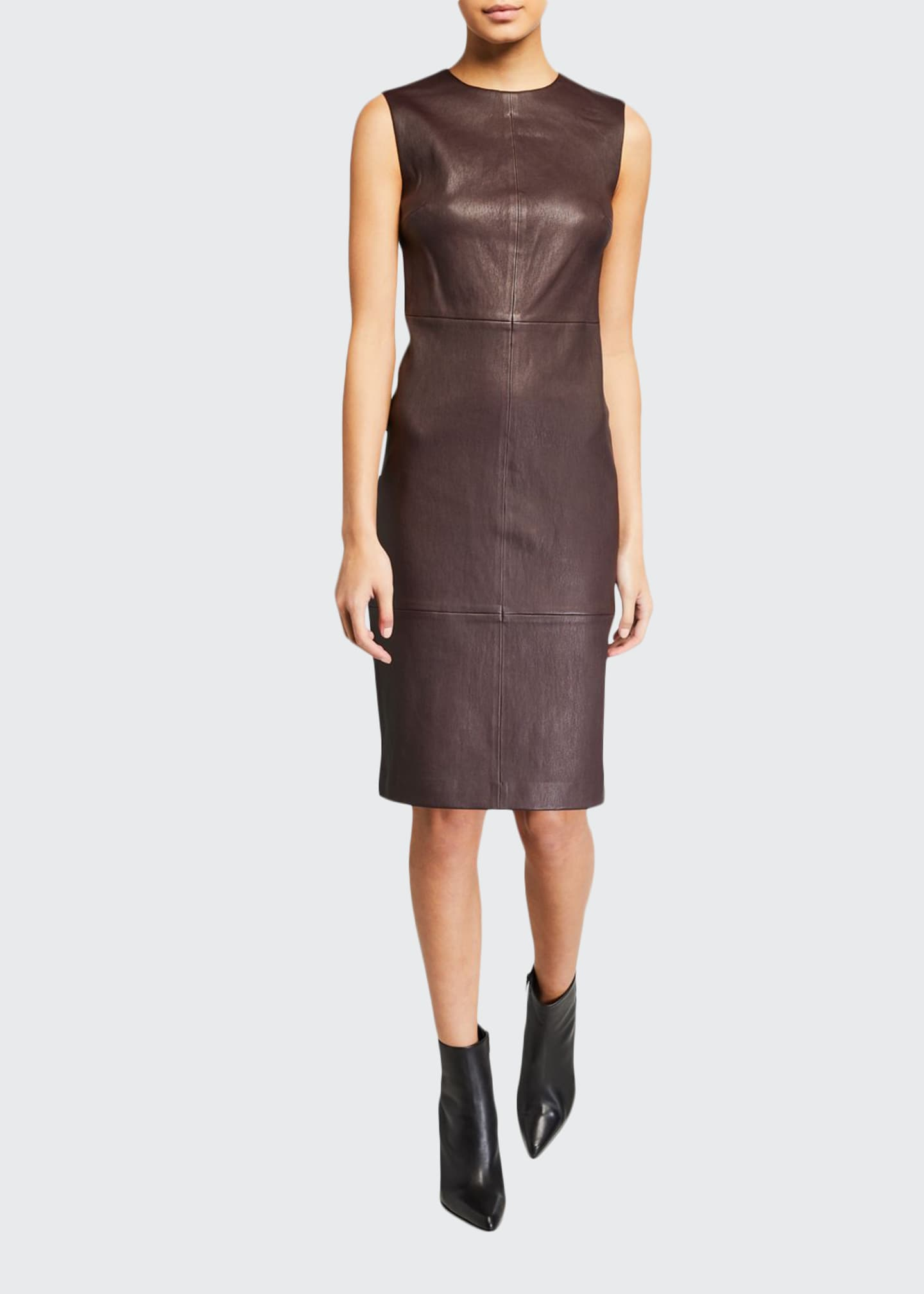 Vince Sleeveless Leather Crewneck Dress