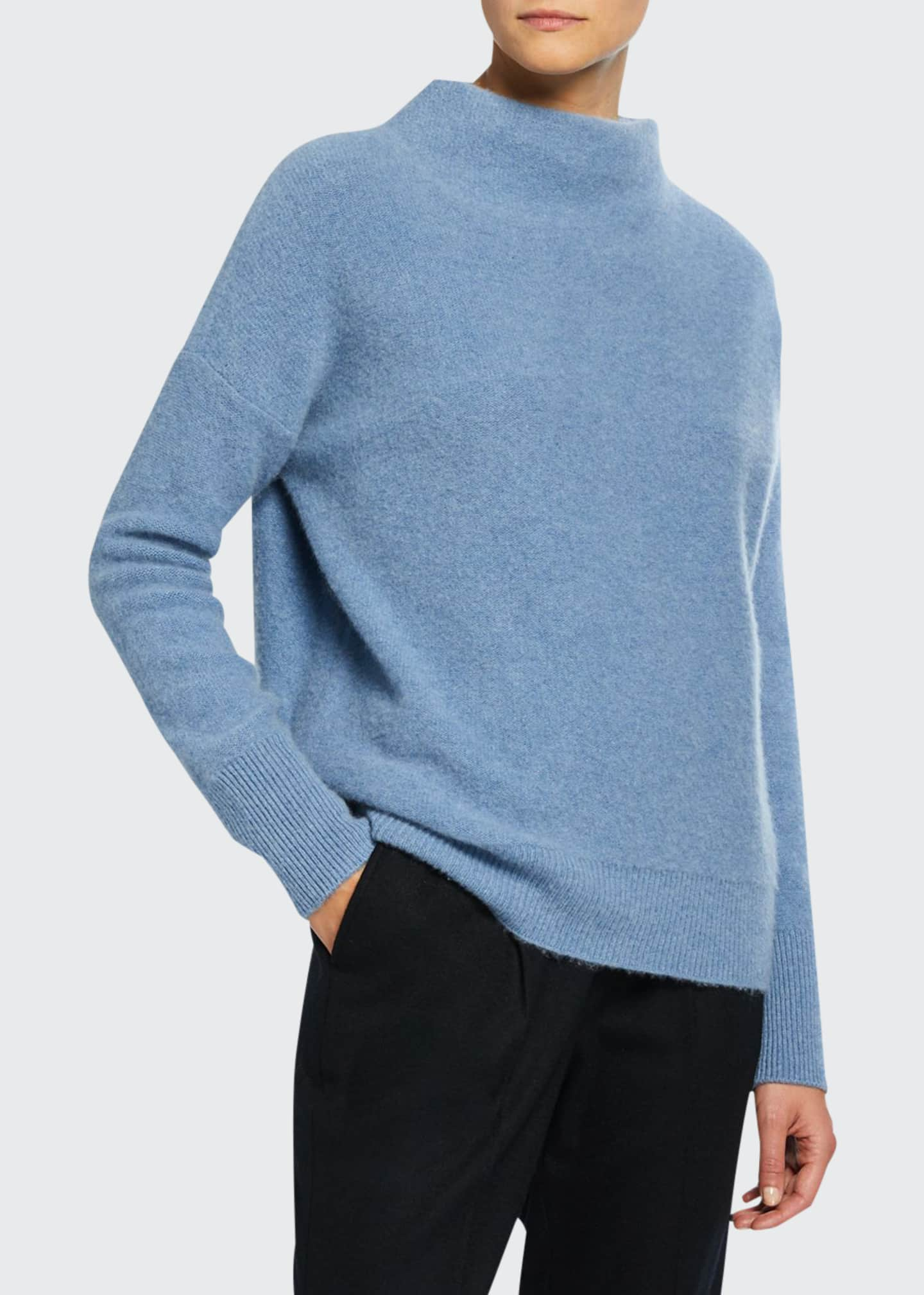 Image 1 of 2: Funnel-Neck Cashmere Sweater