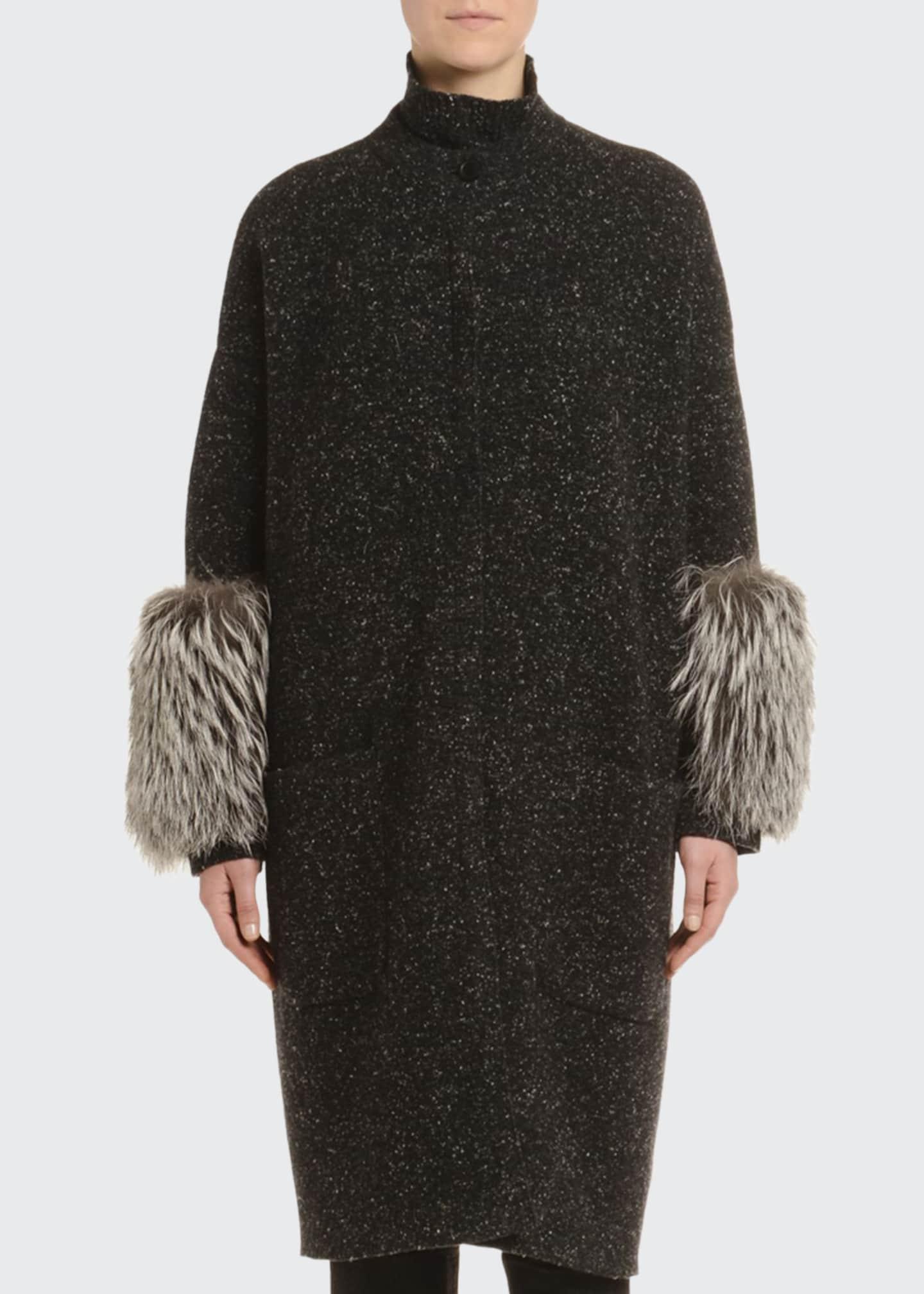 Agnona Cashmere Melange Tweed Fur-Cuff Coat