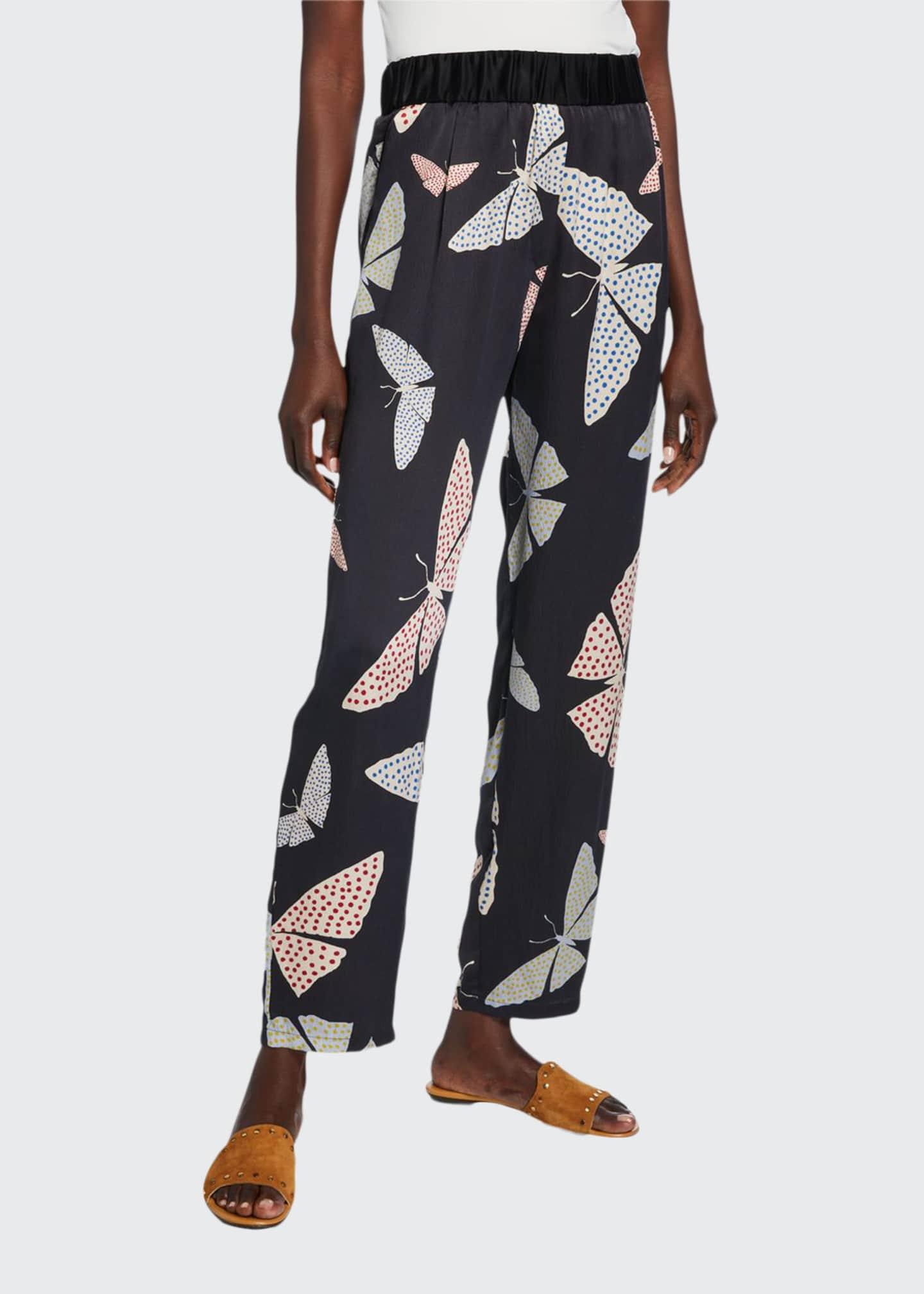 Forte Forte Papillons Gitans Silk-Satin Cloque Trousers