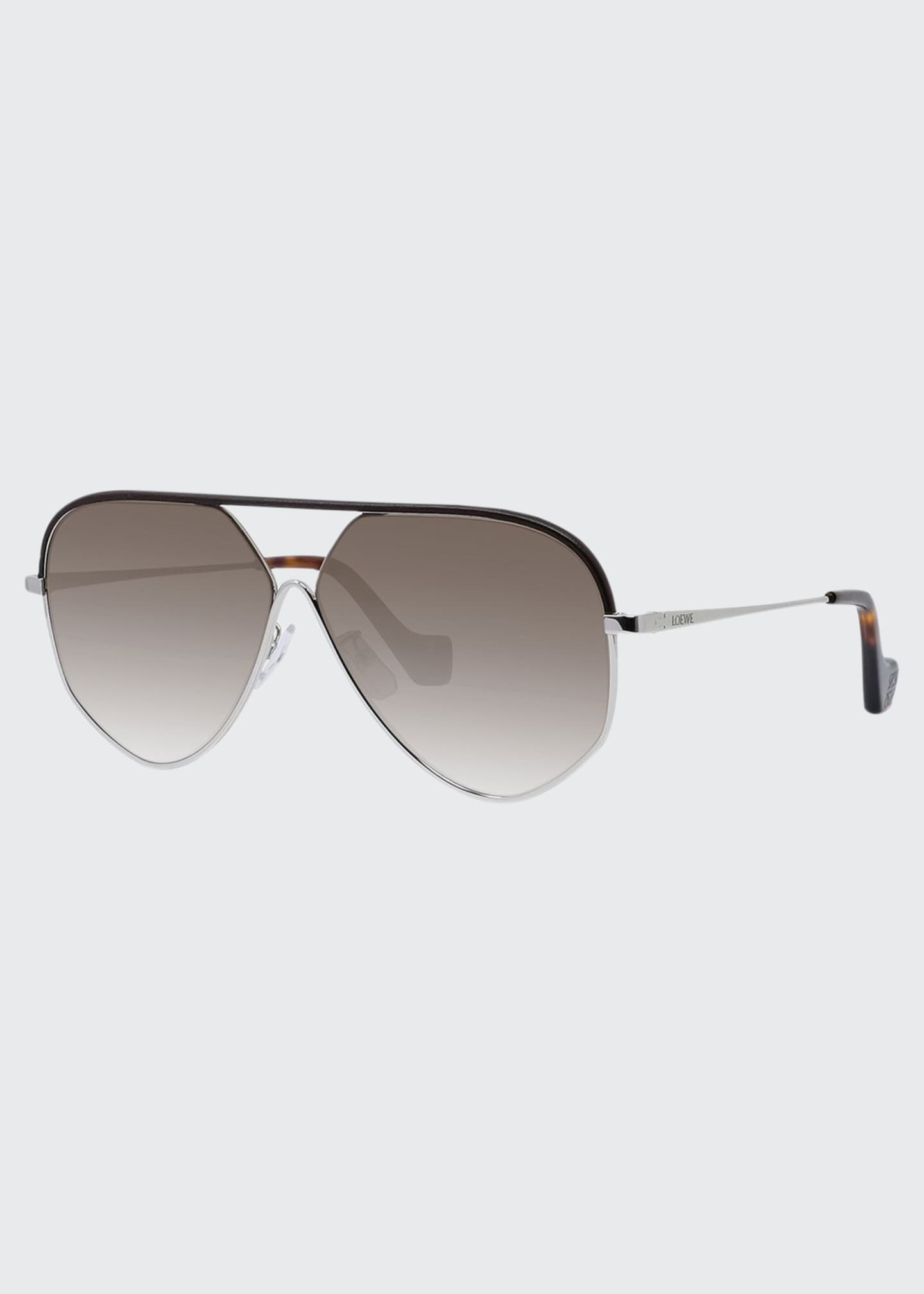Image 1 of 4: Metal Aviator Sunglasses w/ Leather Brow