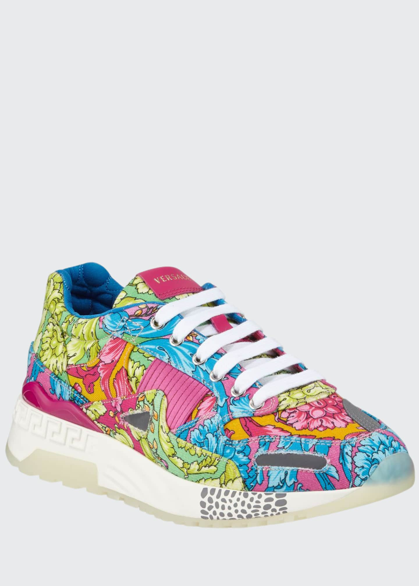 Image 1 of 3: Men's Barocco-Print Canvas Runner Sneakers