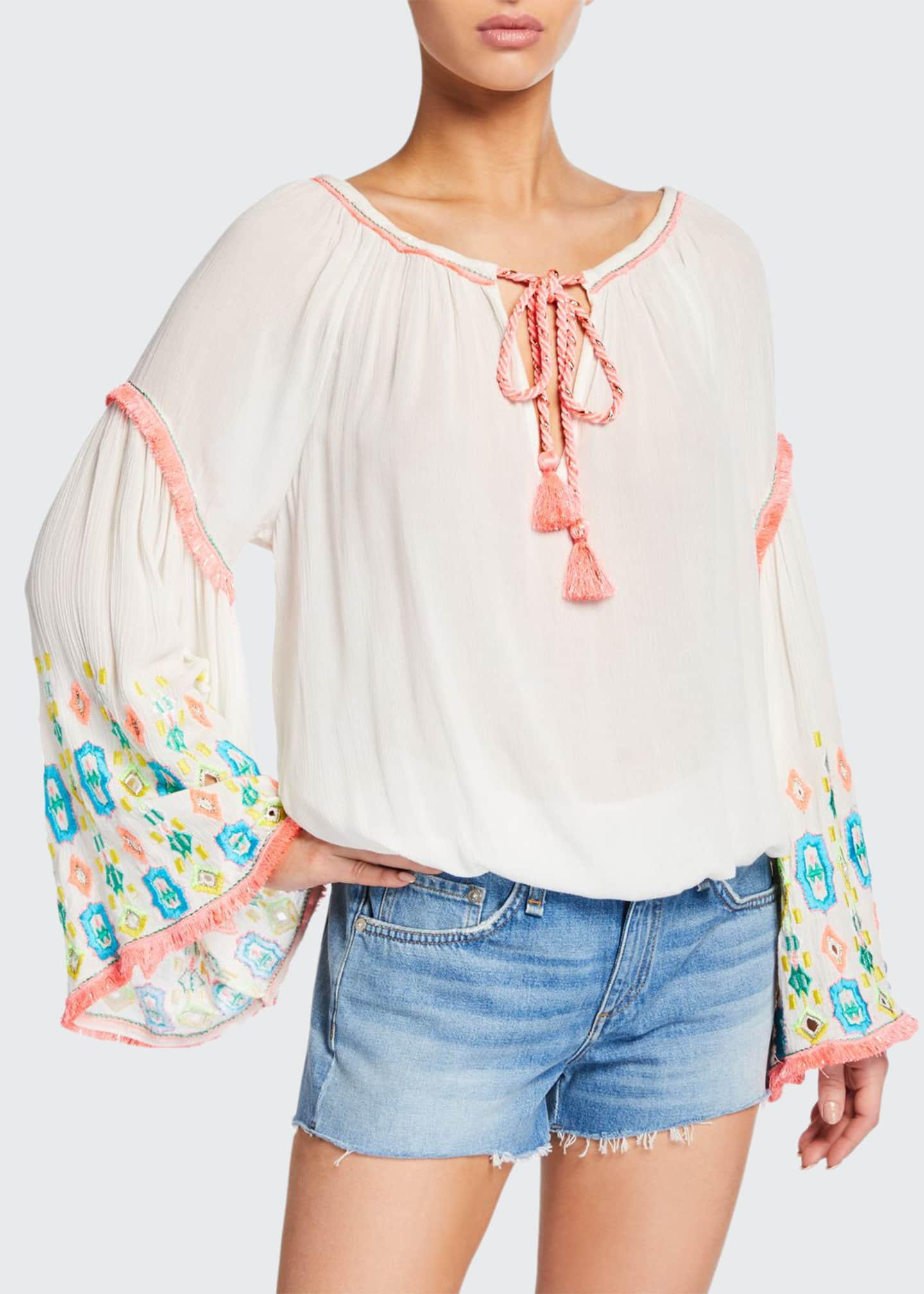 Ramy Brook Ellery Embroidered Bell-Sleeve Top