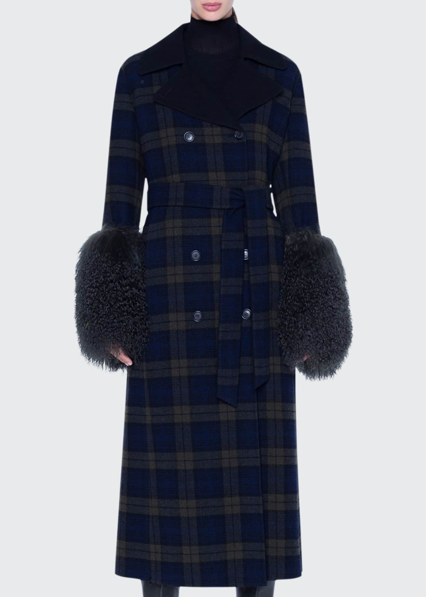 Akris Quilted Lamb-Cuff Plaid Coat