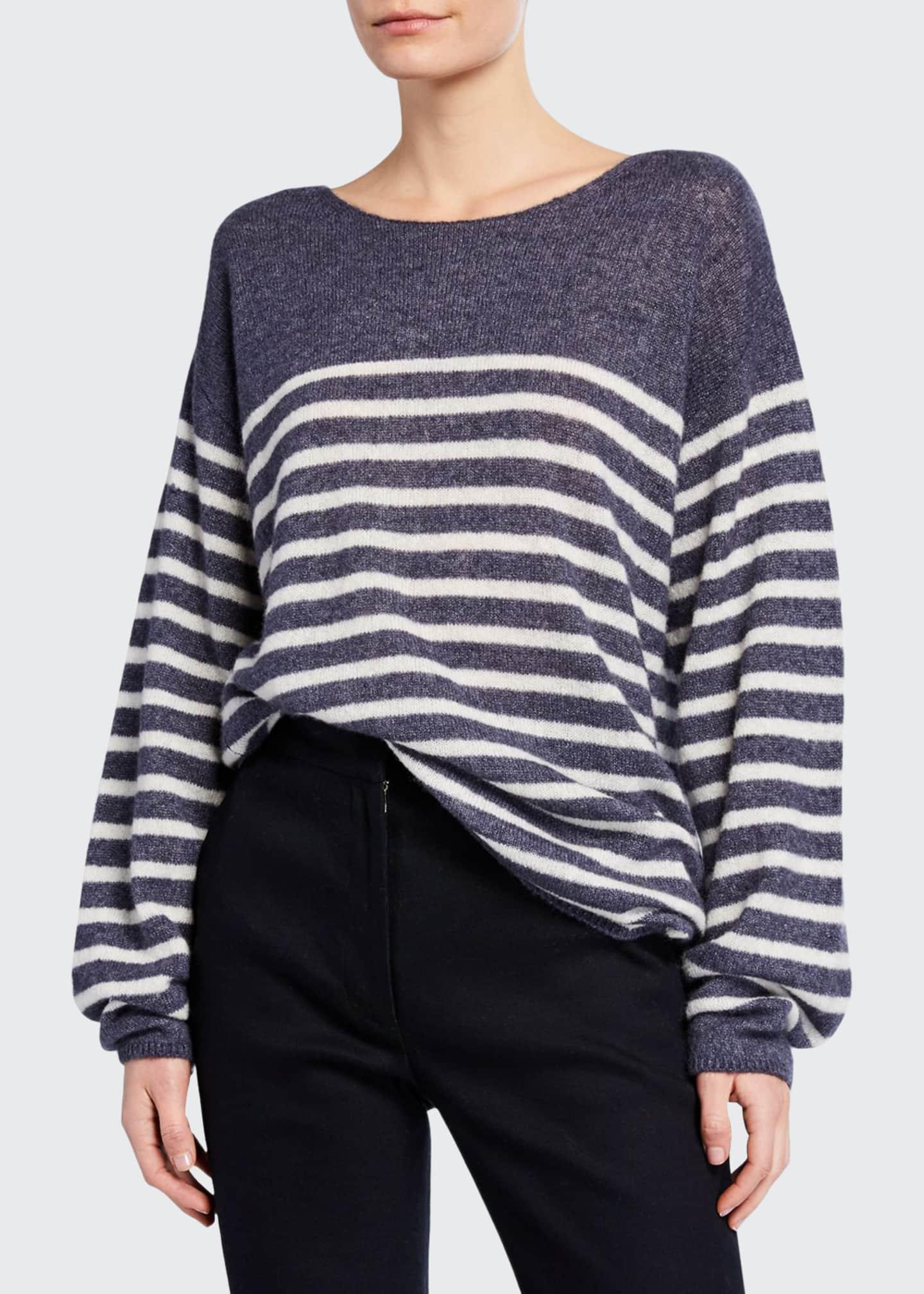 Adam Lippes Brushed-Cashmere Breton-Striped Boat-Neck Sweater