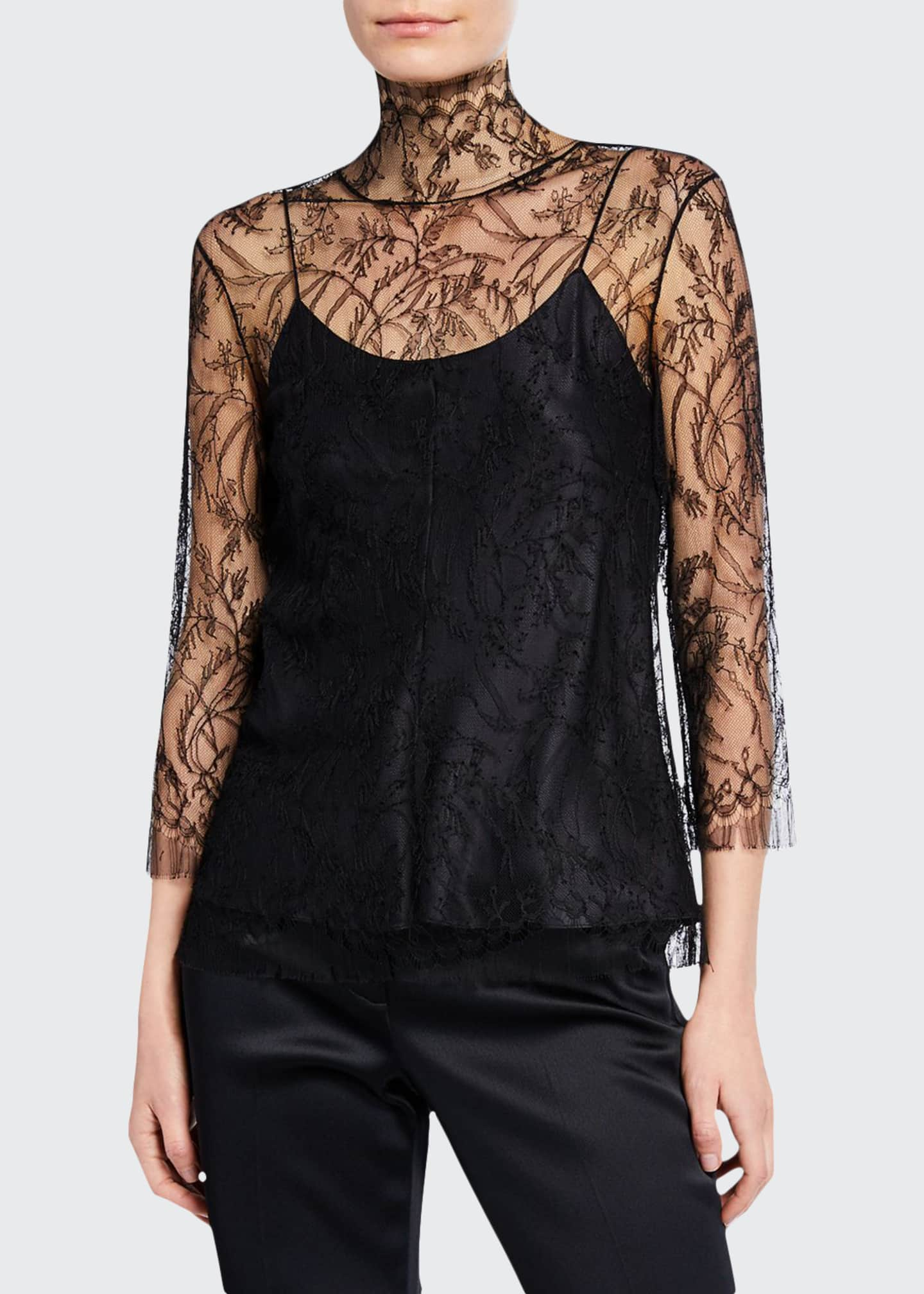 Image 1 of 2: 3/4-Sleeve Chantilly Lace Turtleneck Blouse with Cami