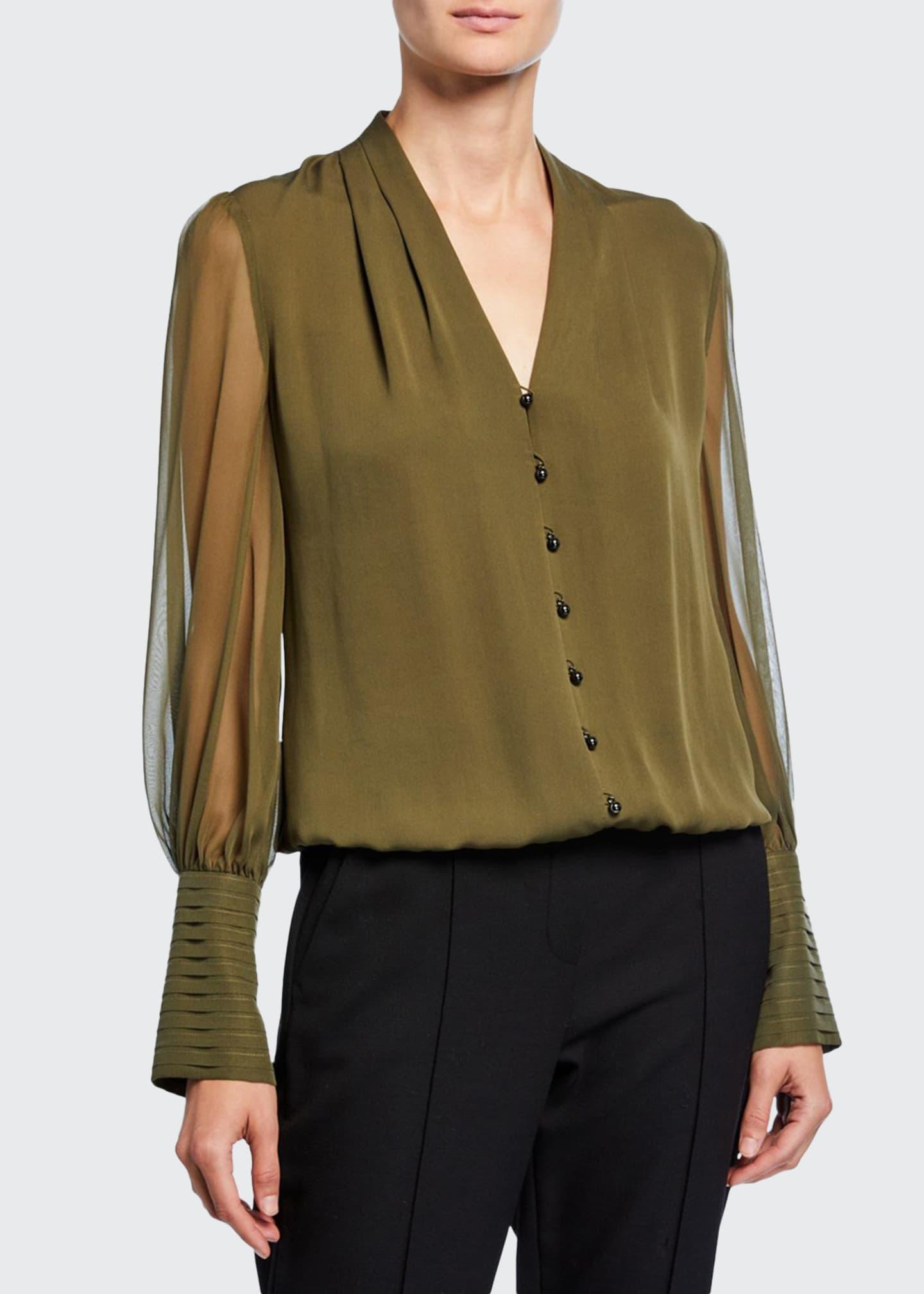 Skylar V Neck Button Front Blouson Sleeve Silk Blouse by Elie Tahari