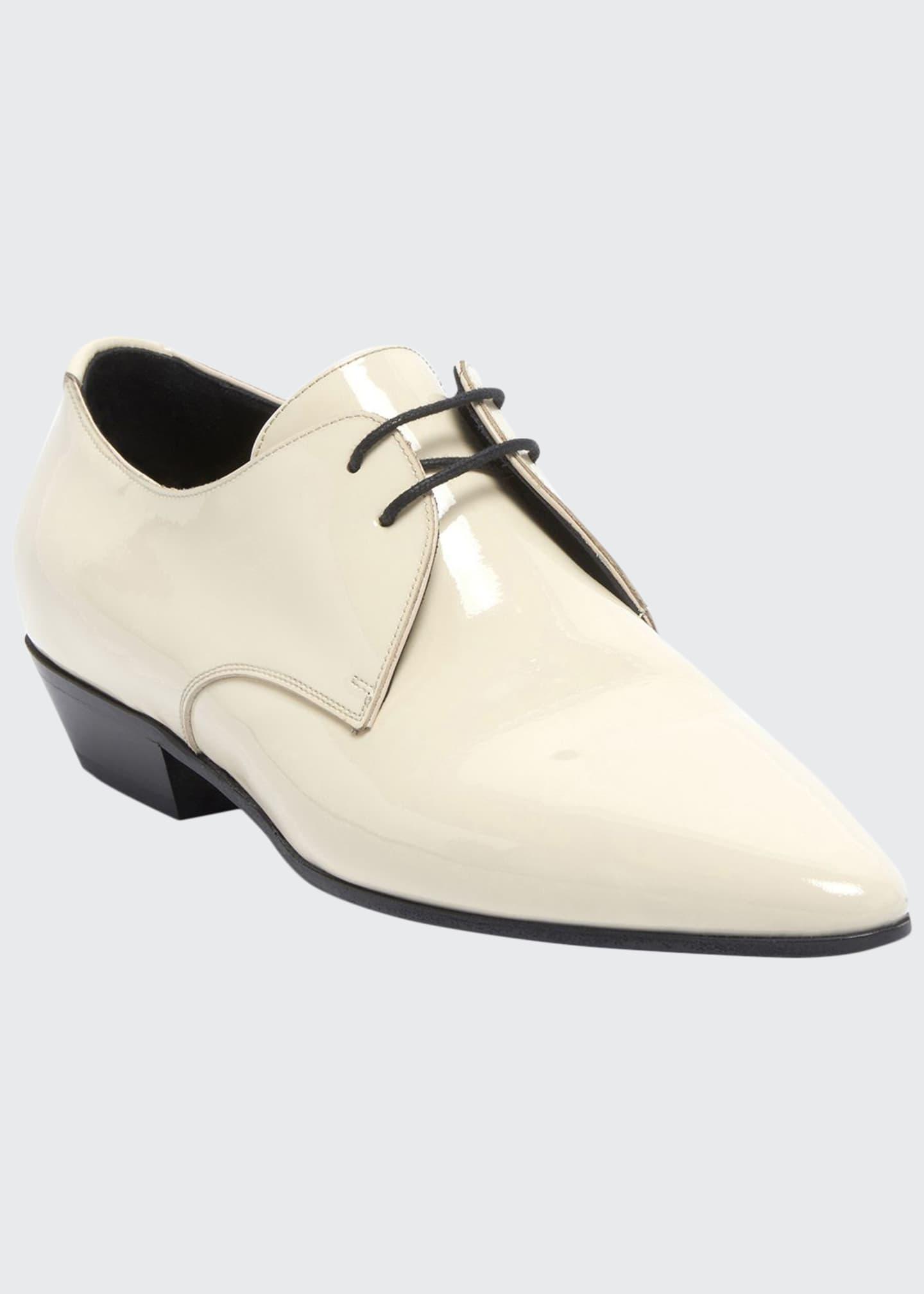 Saint Laurent Jonas Patent Lace-Up Loafers