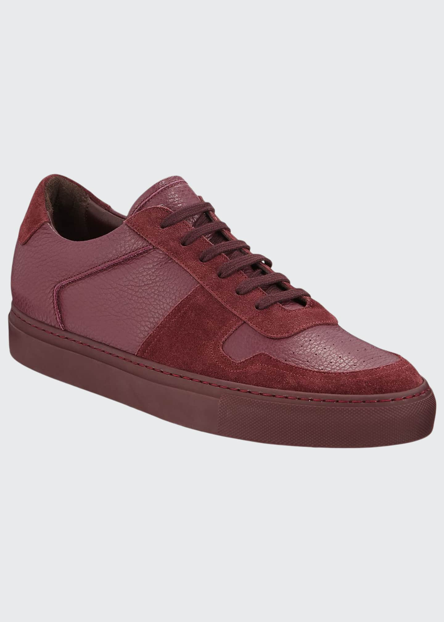 Image 1 of 3: Men's BBall Low-Top Leather Sneakers