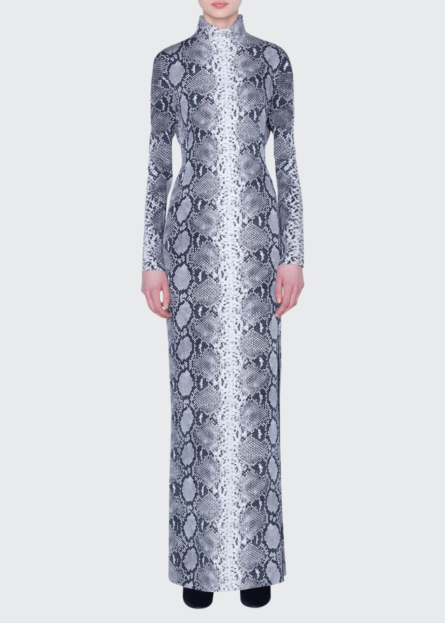 Image 1 of 3: Python-Print Silk Stretch Mock-Neck Gown