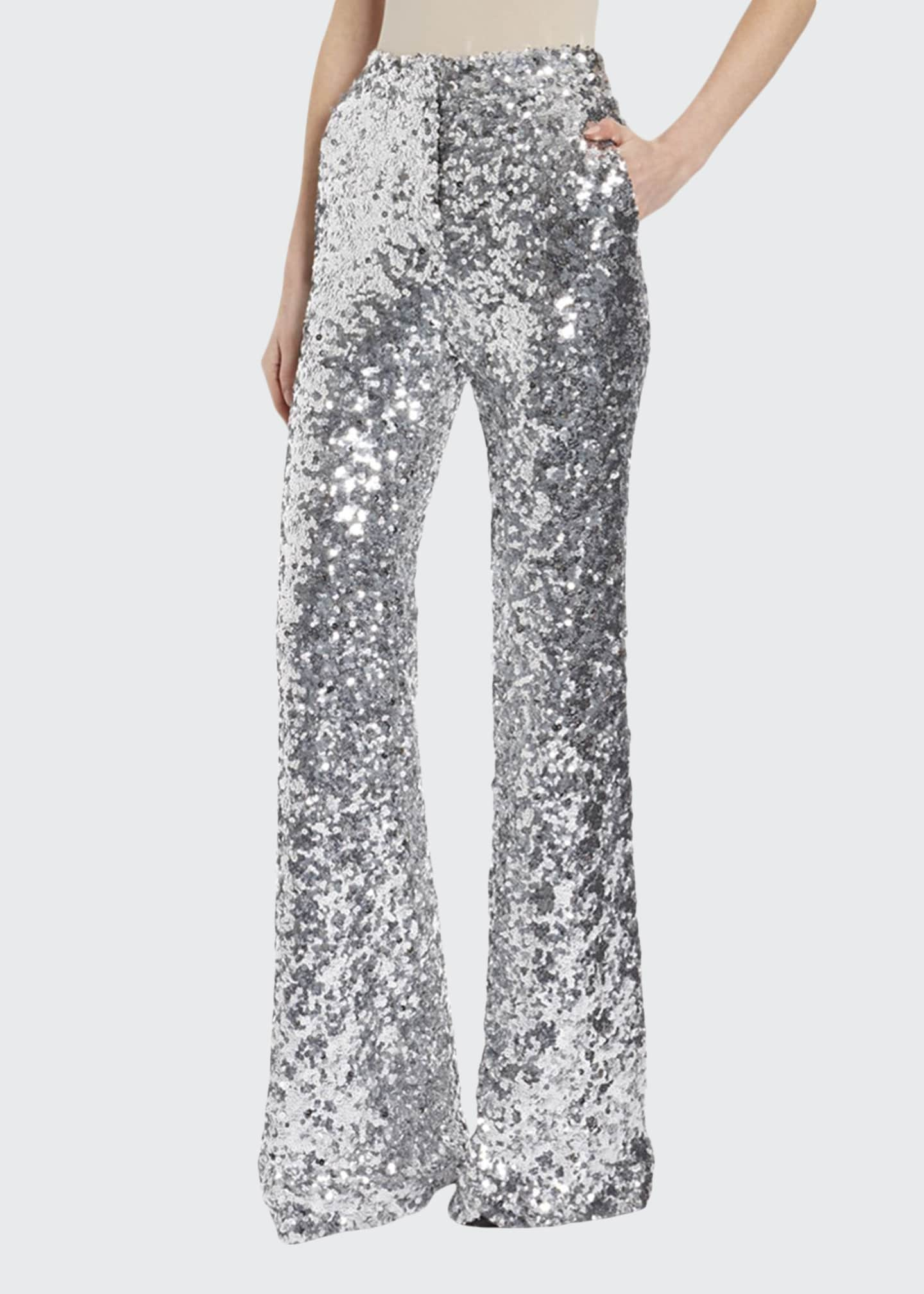 Halpern Sequined Wide-Leg Trousers
