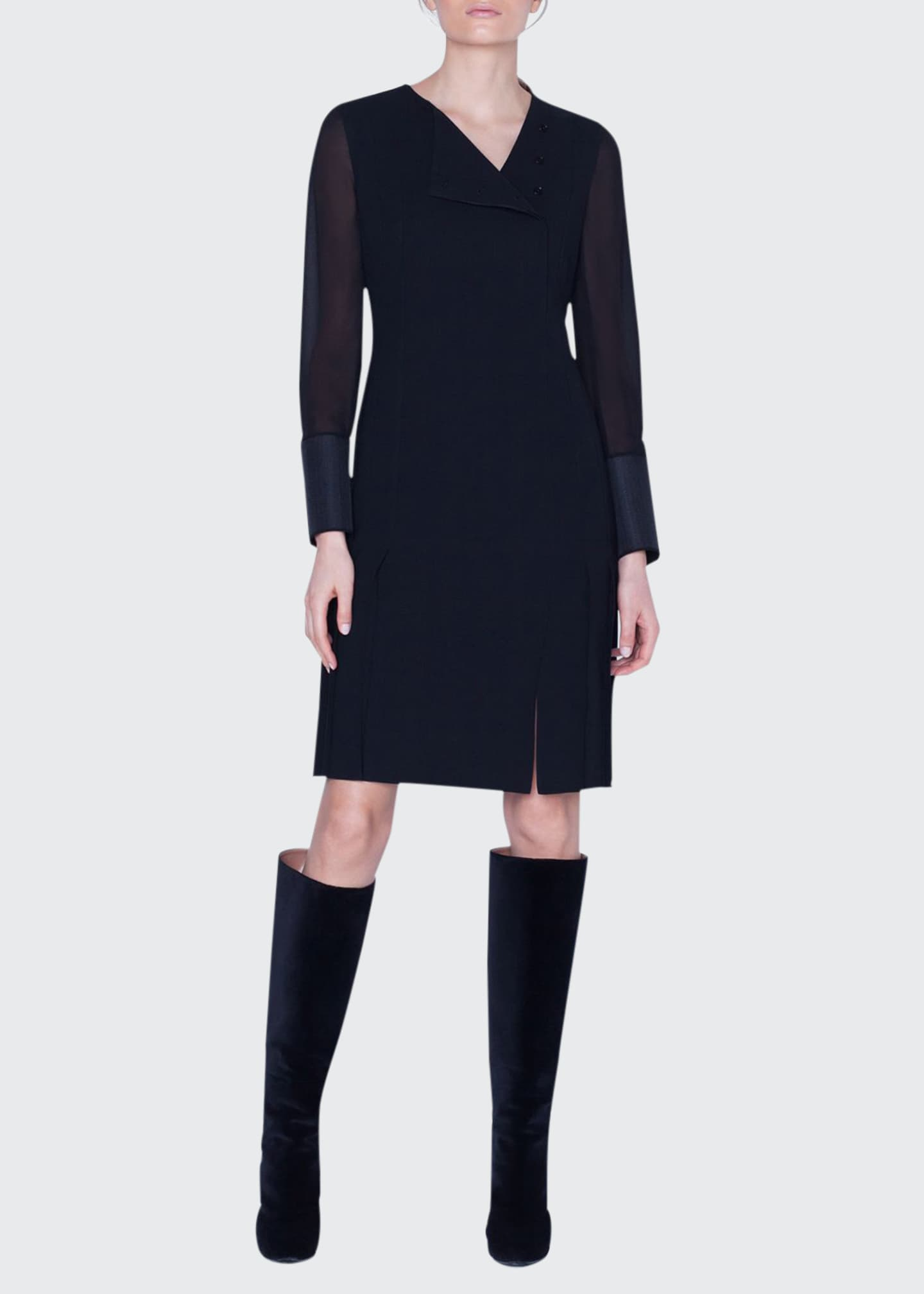 Akris Wool Sheer-Sleeve Pleated Dress