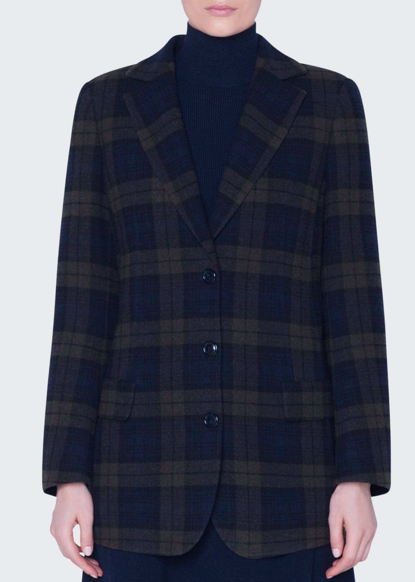 Akris Plaid Oversized Blazer