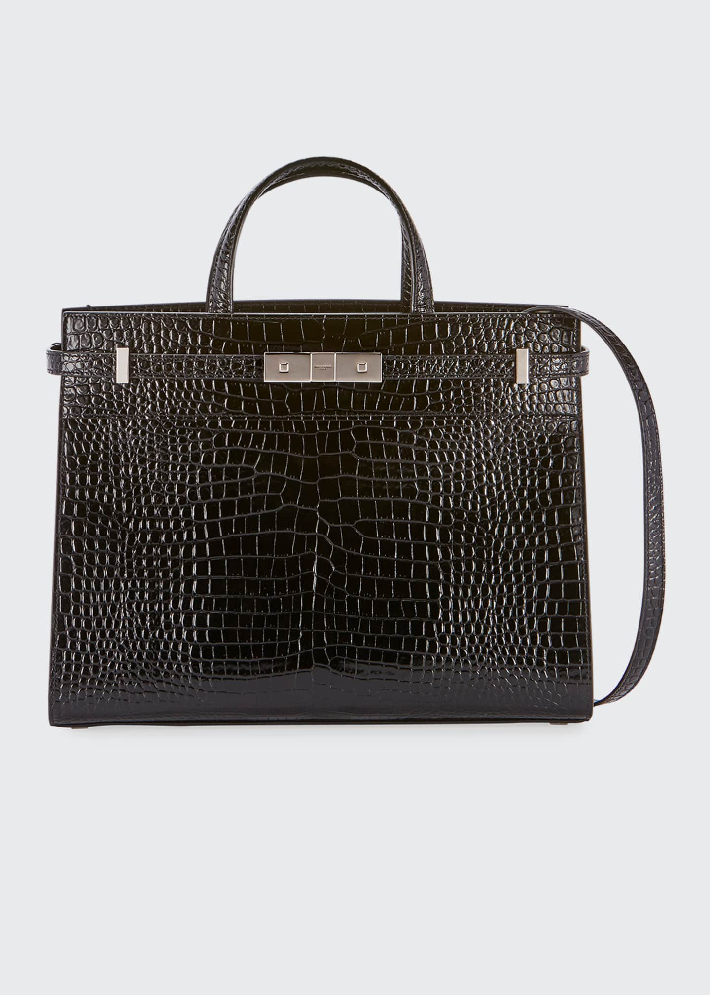 Saint Laurent Manhattan Small Crocodile-Embossed Tote Bag