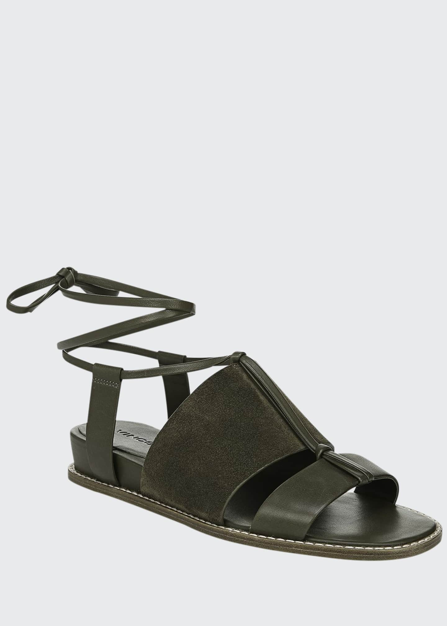 Image 1 of 4: Forster Flat Leather Ankle-Tie Sandals