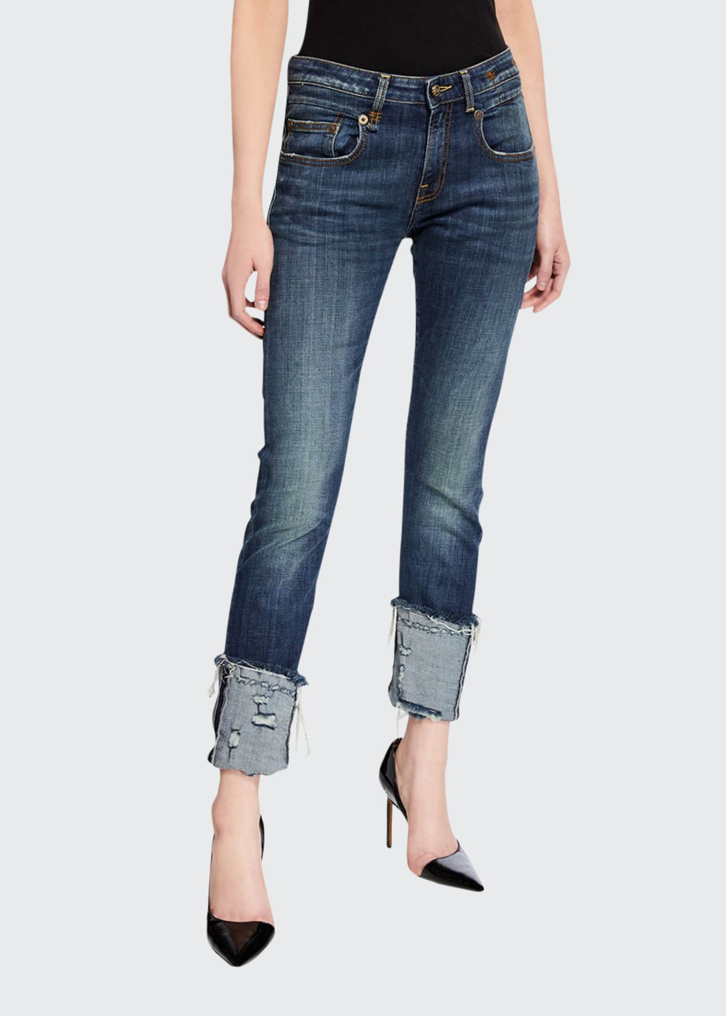 Image 1 of 3: Boy Distressed Skinny Jeans with Cuffs