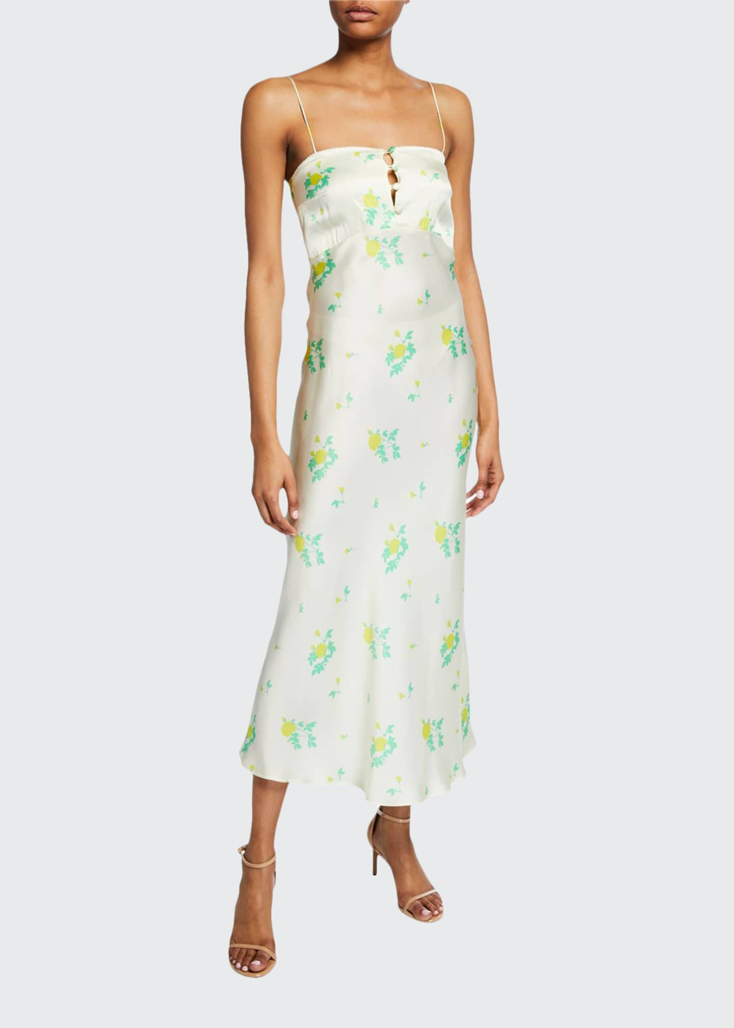 BERNADETTE Florence Floral-Print Silk Cocktail Dress