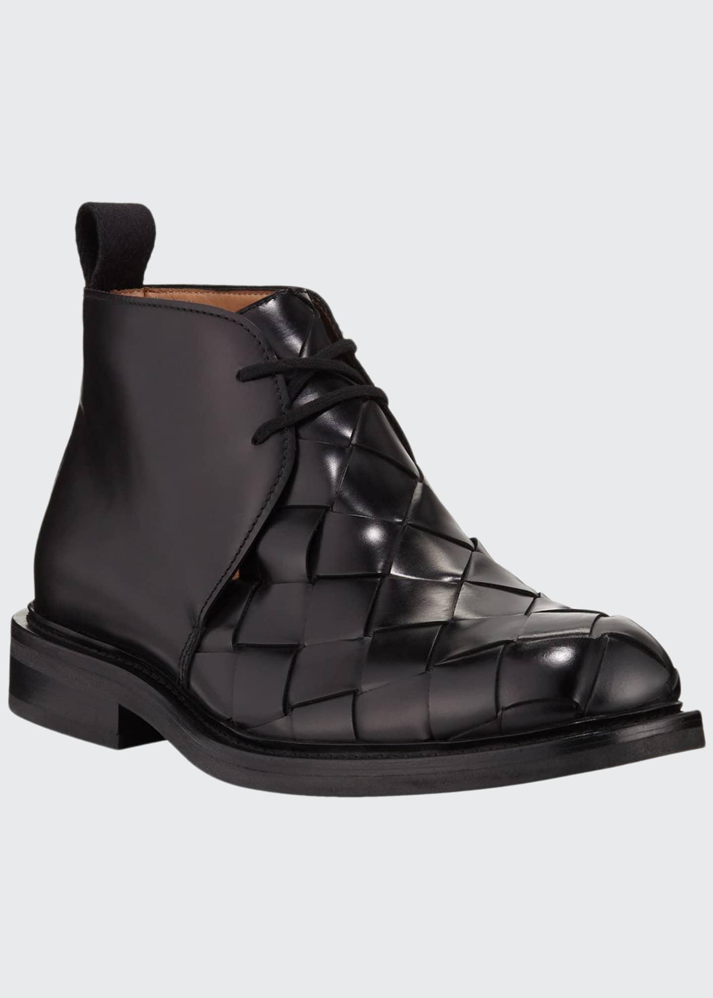 Bottega Veneta Men's Intrecciato Woven Leather Chukka Boots