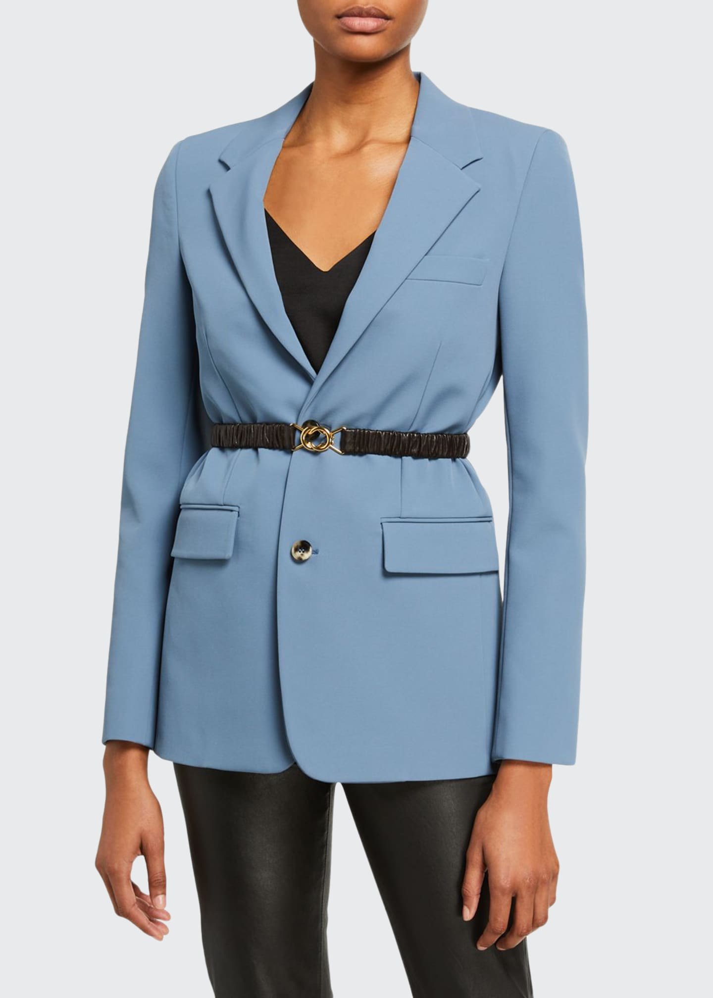 Bottega Veneta Crepe Blazer Jacket w/ removable Leather