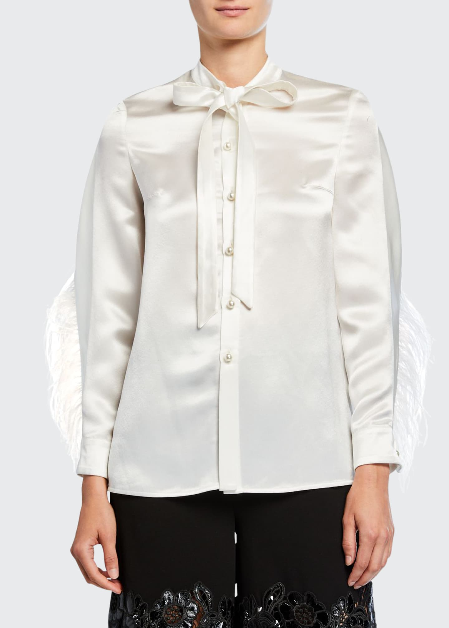 Image 1 of 2: Feather-Seamed Satin Button-Front Blouse