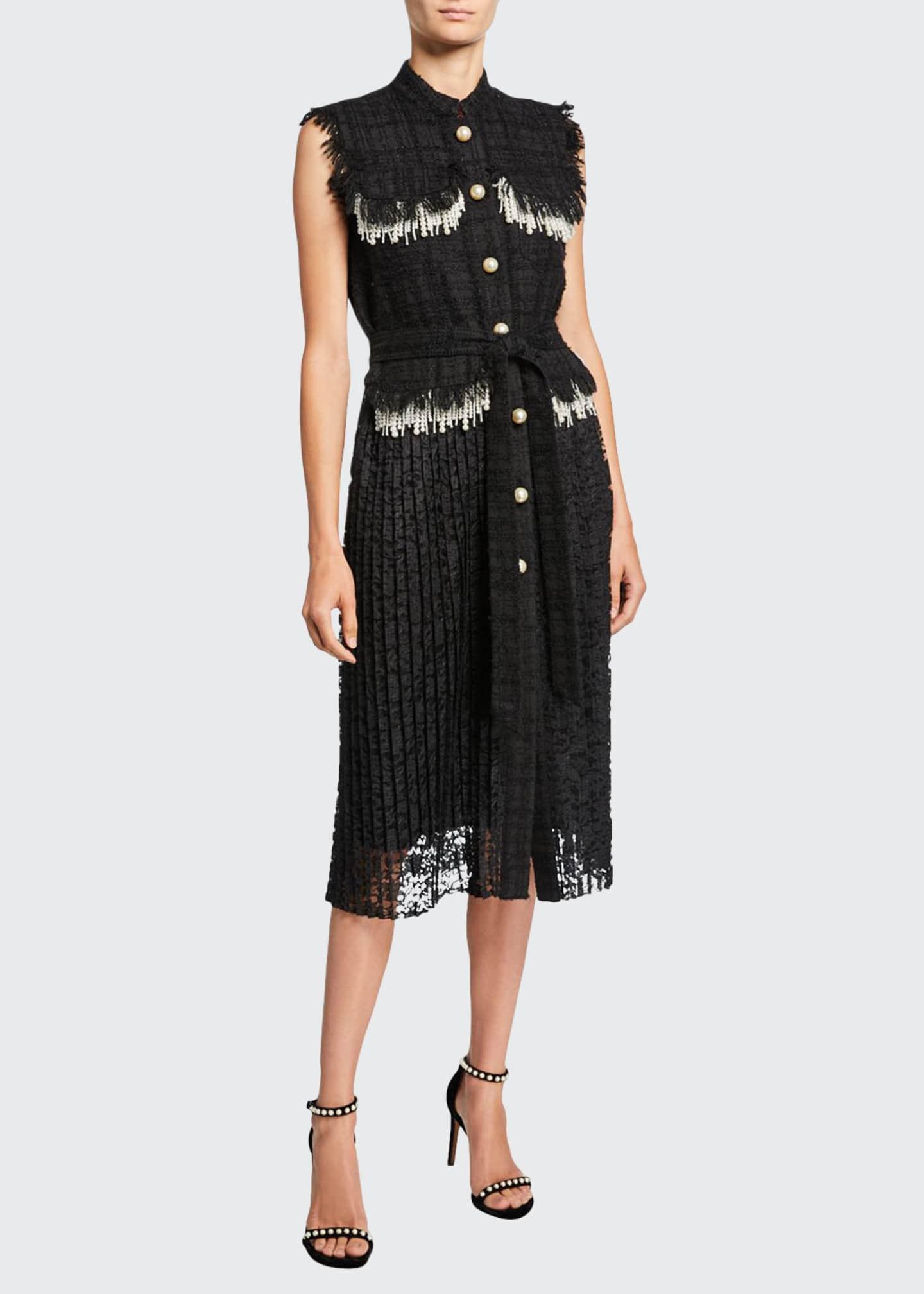Huishan Zhang Sleeveless Tweed Dress w/ Pearly Trim