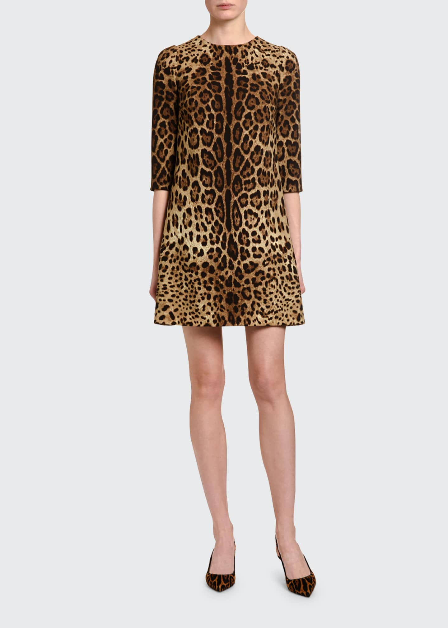 Dolce & Gabbana Leopard-Print Crepe 3/4-Sleeve Dress