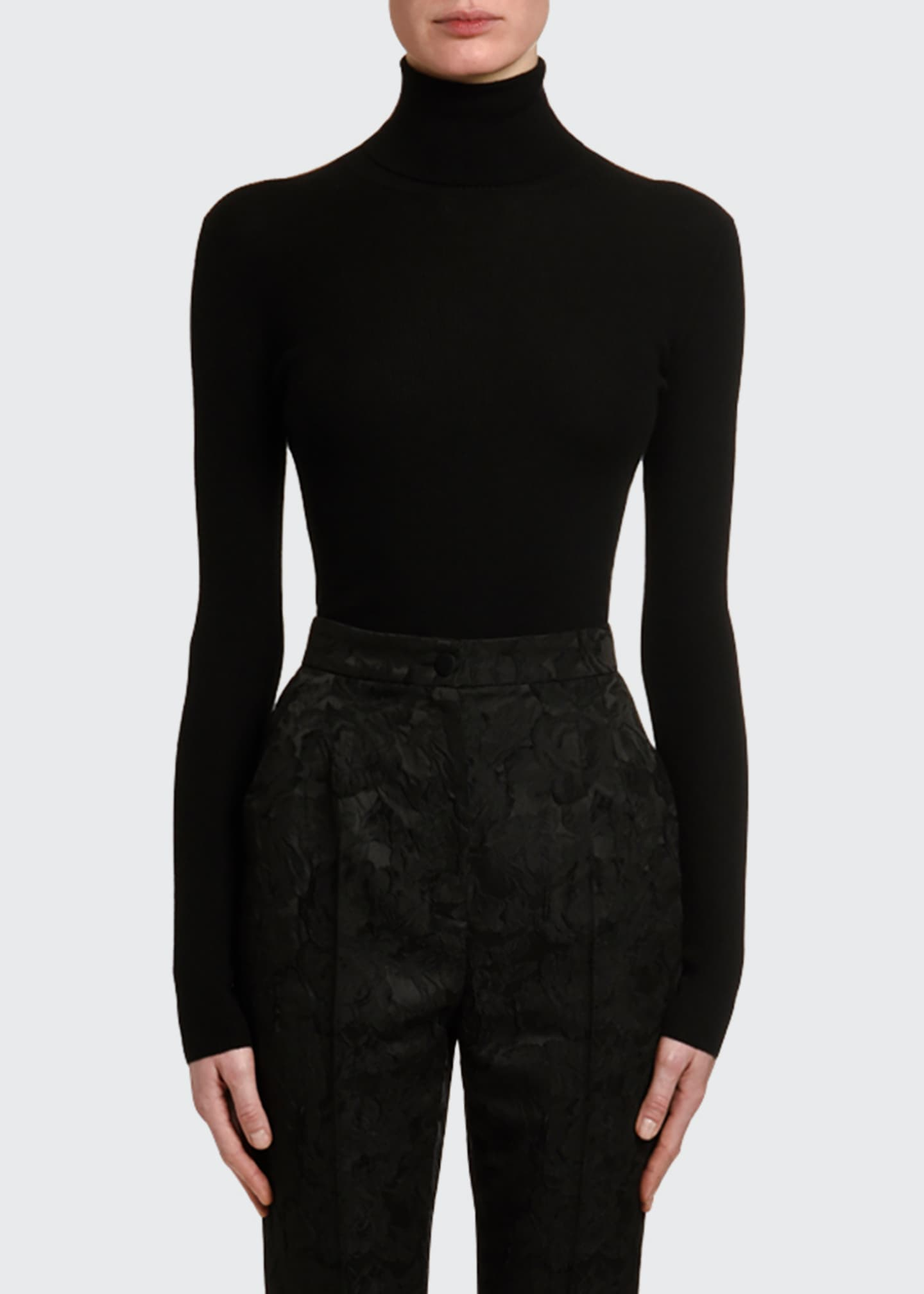 Image 1 of 3: Cashmere-Silk Thin-Ribbed Turtleneck Sweater