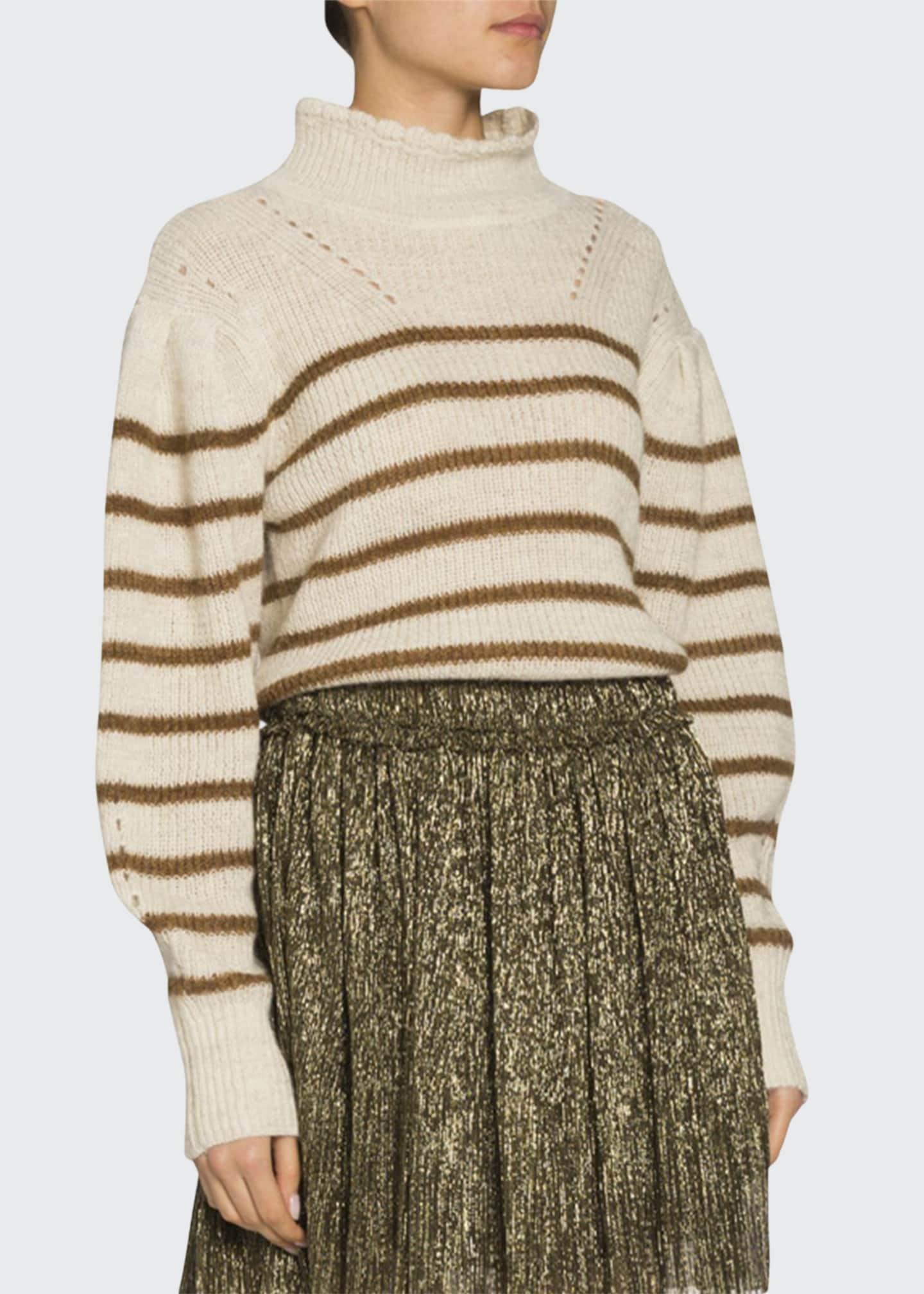 Etoile Isabel Marant Georgia Striped Drop-Shoulder Turtleneck