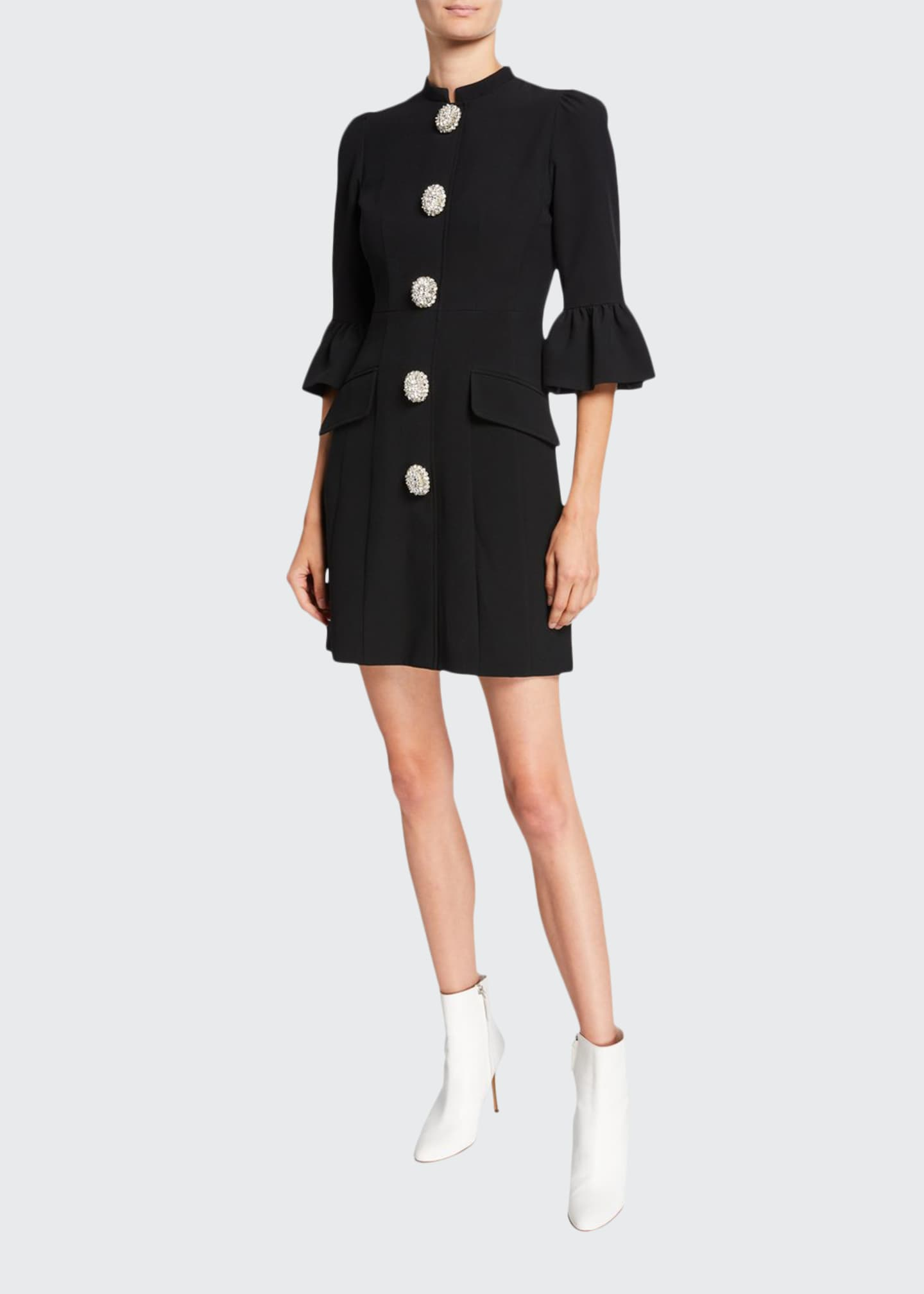 Andrew Gn 3/4-Sleeve Flared-Cuff A-Line Dress