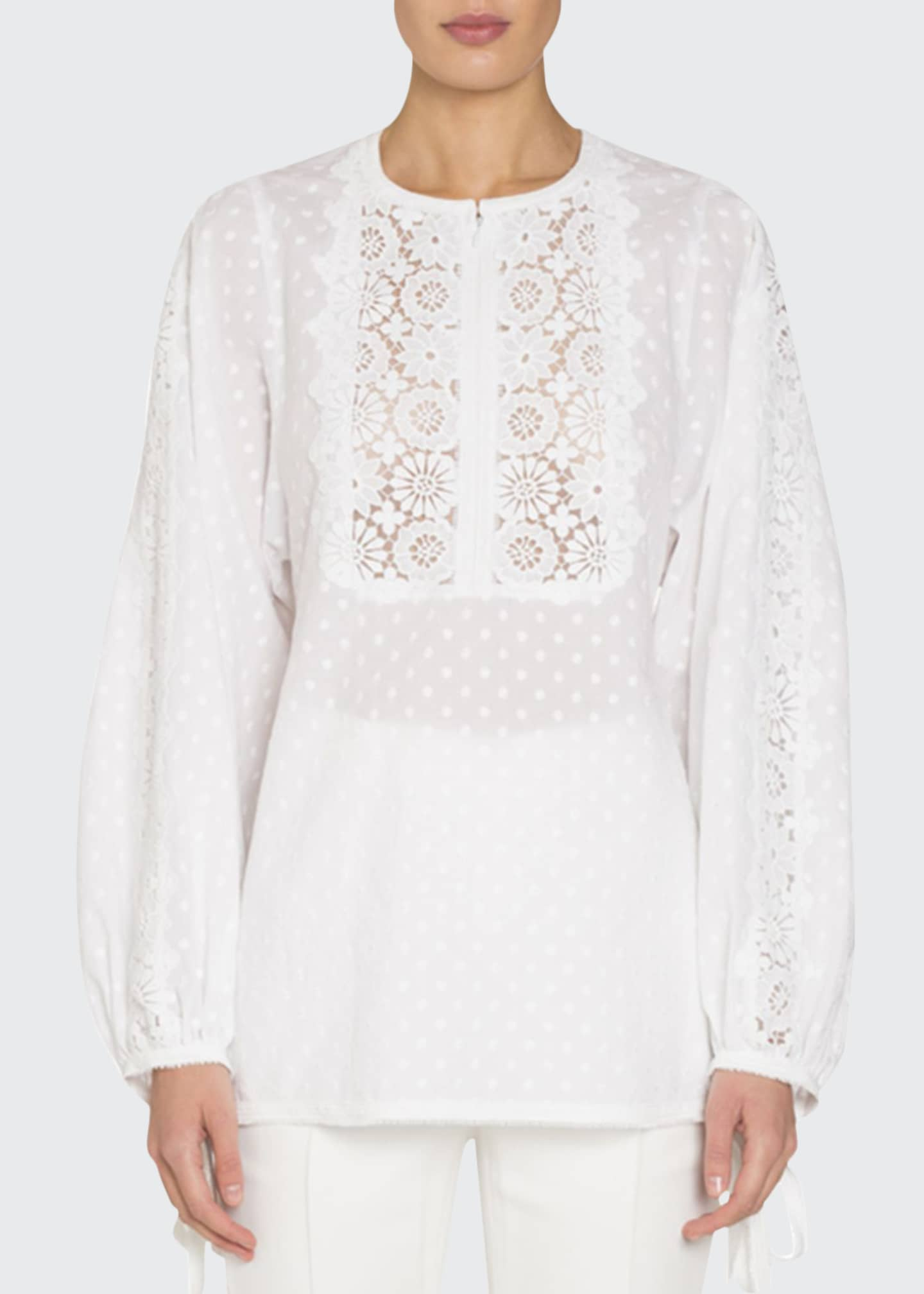 Andrew Gn Dotted Long-Sleeve Blouse with Eyelet Lace