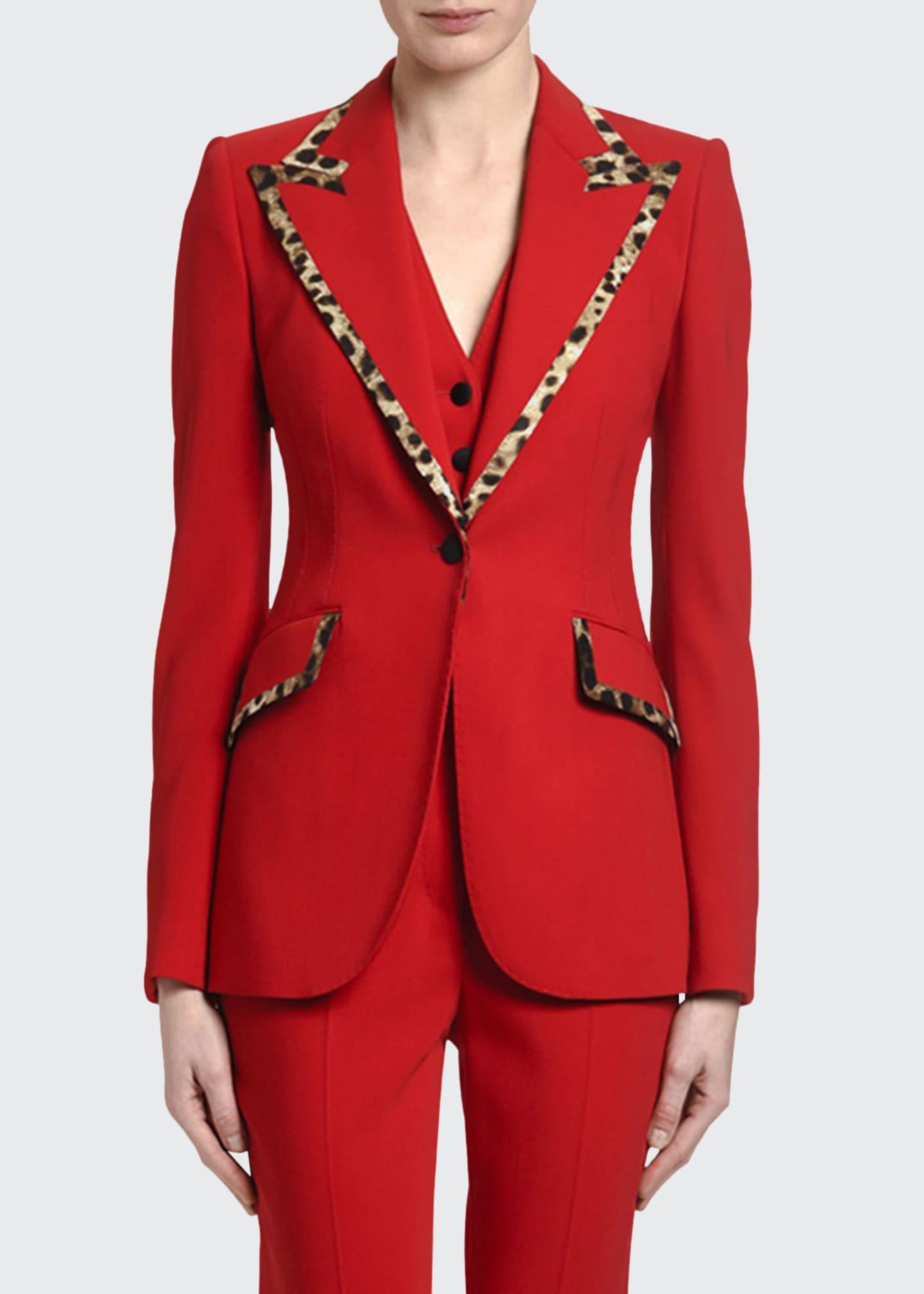 Dolce & Gabbana Leopard-Trimmed Wool Blazer