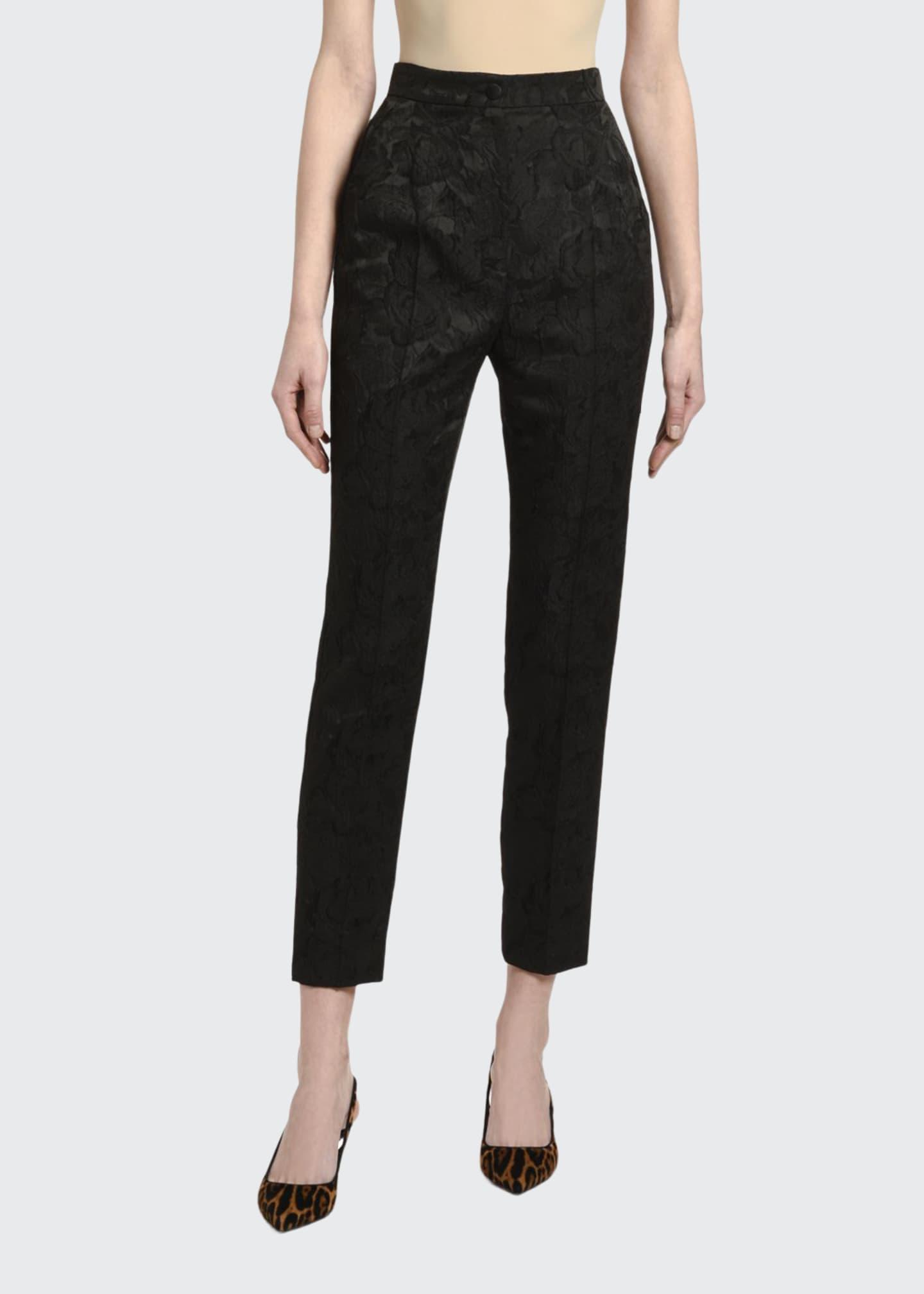 Dolce & Gabbana Floral-Jacquard Slim-Leg Pants